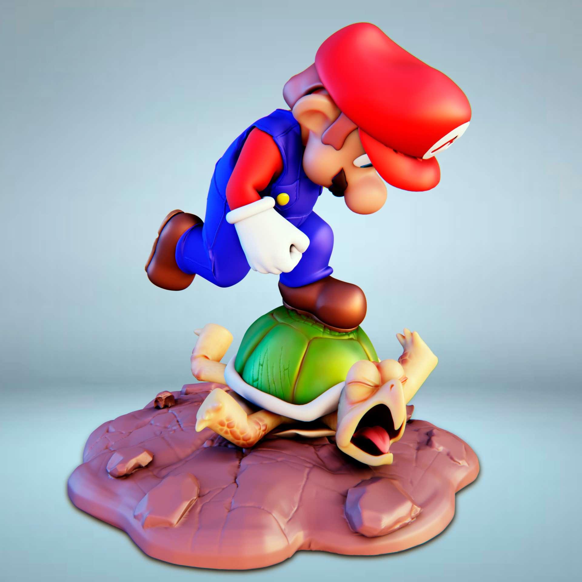 Super Mario vs Turtle - Super Mario Stepping on the turtle  - Os melhores arquivos para impressão 3D do mundo. Modelos stl divididos em partes para facilitar a impressão 3D. Todos os tipos de personagens, decoração, cosplay, próteses, peças. Qualidade na impressão 3D. Modelos 3D com preço acessível. Baixo custo. Compras coletivas de arquivos 3D.