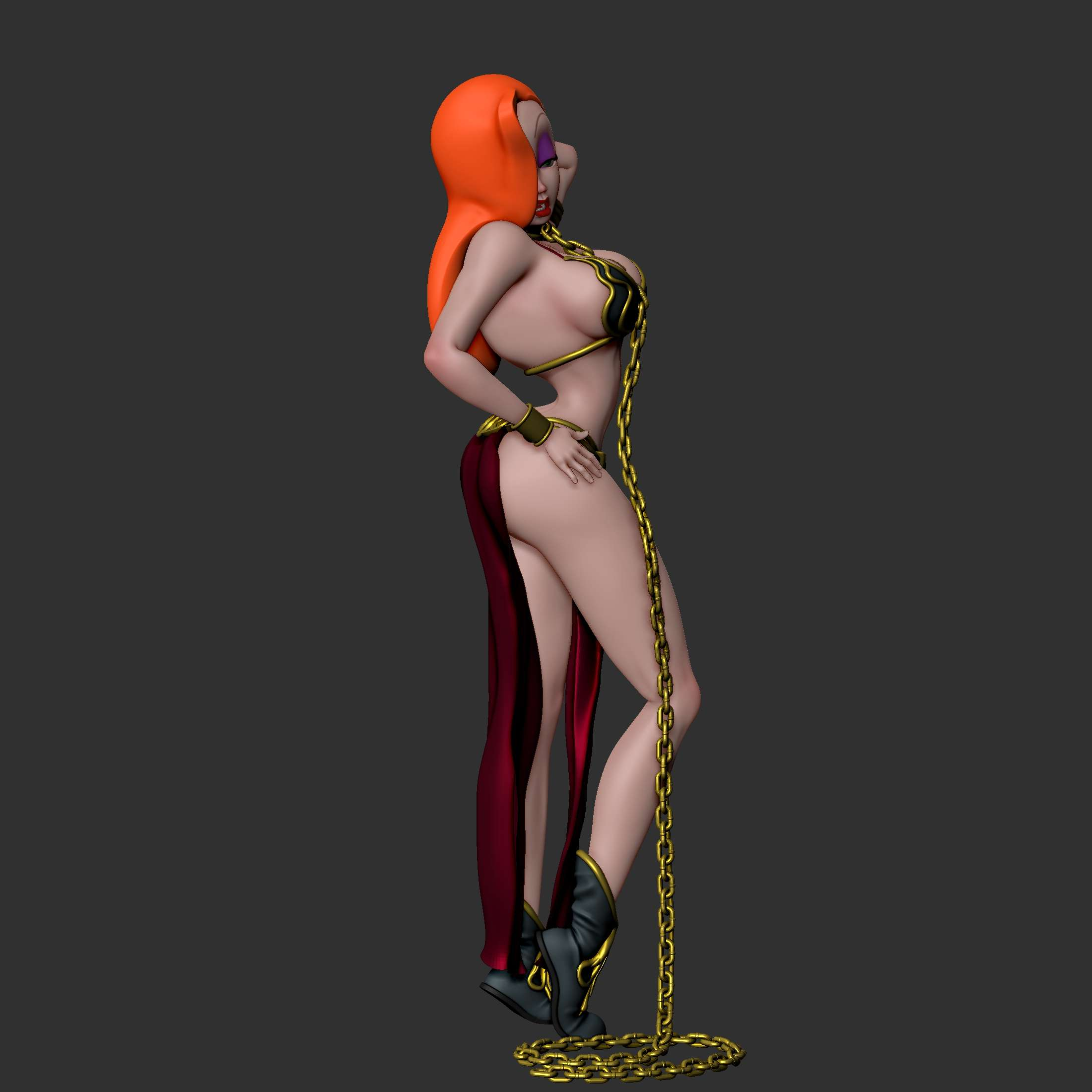 Princess Jessica Slave Girl - Jessica Rabbit Mashup with Slave Leia outfit. As a suggestion, the dress should be made of cloth and chains can be real, but if you want, the file is provided for printing and collage - The best files for 3D printing in the world. Stl models divided into parts to facilitate 3D printing. All kinds of characters, decoration, cosplay, prosthetics, pieces. Quality in 3D printing. Affordable 3D models. Low cost. Collective purchases of 3D files.