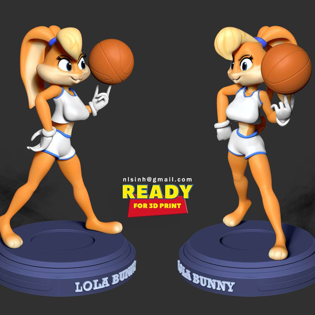 Lola Bunny - Lola Bunny is a Looney Tunes cartoon character portrayed as an anthropomorphic female rabbit created by the Warner Bros. Studios. She is generally depicted as Bugs Bunny's girlfriend. She first appeared in the 1996 film Space Jam.  When you purchase this model, you will own:  - STL, OBJ file with 10 separated files (with key to connect together) is ready for 3D printing.  - Zbrush original files (ZTL) for you to customize as you like.  This is version 1.0 of this model.  Hope you like her. Thanks for viewing! - The best files for 3D printing in the world. Stl models divided into parts to facilitate 3D printing. All kinds of characters, decoration, cosplay, prosthetics, pieces. Quality in 3D printing. Affordable 3D models. Low cost. Collective purchases of 3D files.
