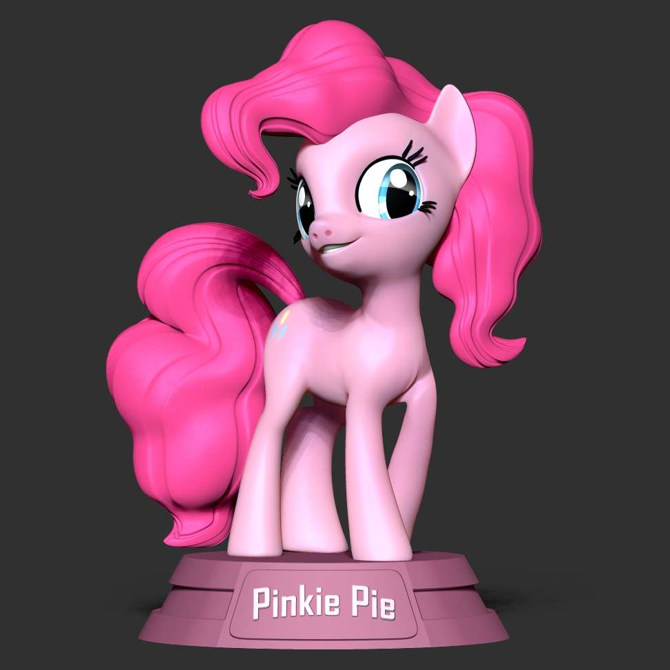Pinkie Pie - Little Pony - Pinkie Pie, full name Pinkamena Diane Pie, is a female Earth pony and one of the main characters of My Little Pony Friendship is Magic.   When you purchase this model, you will own:  **- STL, OBJ file with 04 separated files (with key to connect together) is ready for 3D printing.**  **- Zbrush original files (ZTL) for you to customize as you like.**  _This is version 1.0 of this model._  Hope you like her. Thanks for viewing! - Los mejores archivos para impresión 3D del mundo. Modelos Stl divididos en partes para facilitar la impresión 3D. Todo tipo de personajes, decoración, cosplay, prótesis, piezas. Calidad en impresión 3D. Modelos 3D asequibles. Bajo costo. Compras colectivas de archivos 3D.
