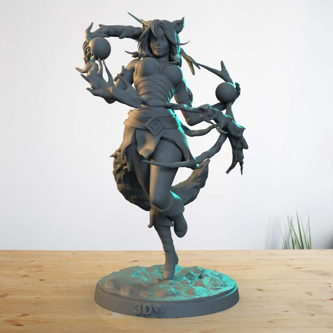 """Ahri  - Ahri Character LOL """"THE FOX OF NINE TAILS """" - The best files for 3D printing in the world. Stl models divided into parts to facilitate 3D printing. All kinds of characters, decoration, cosplay, prosthetics, pieces. Quality in 3D printing. Affordable 3D models. Low cost. Collective purchases of 3D files."""