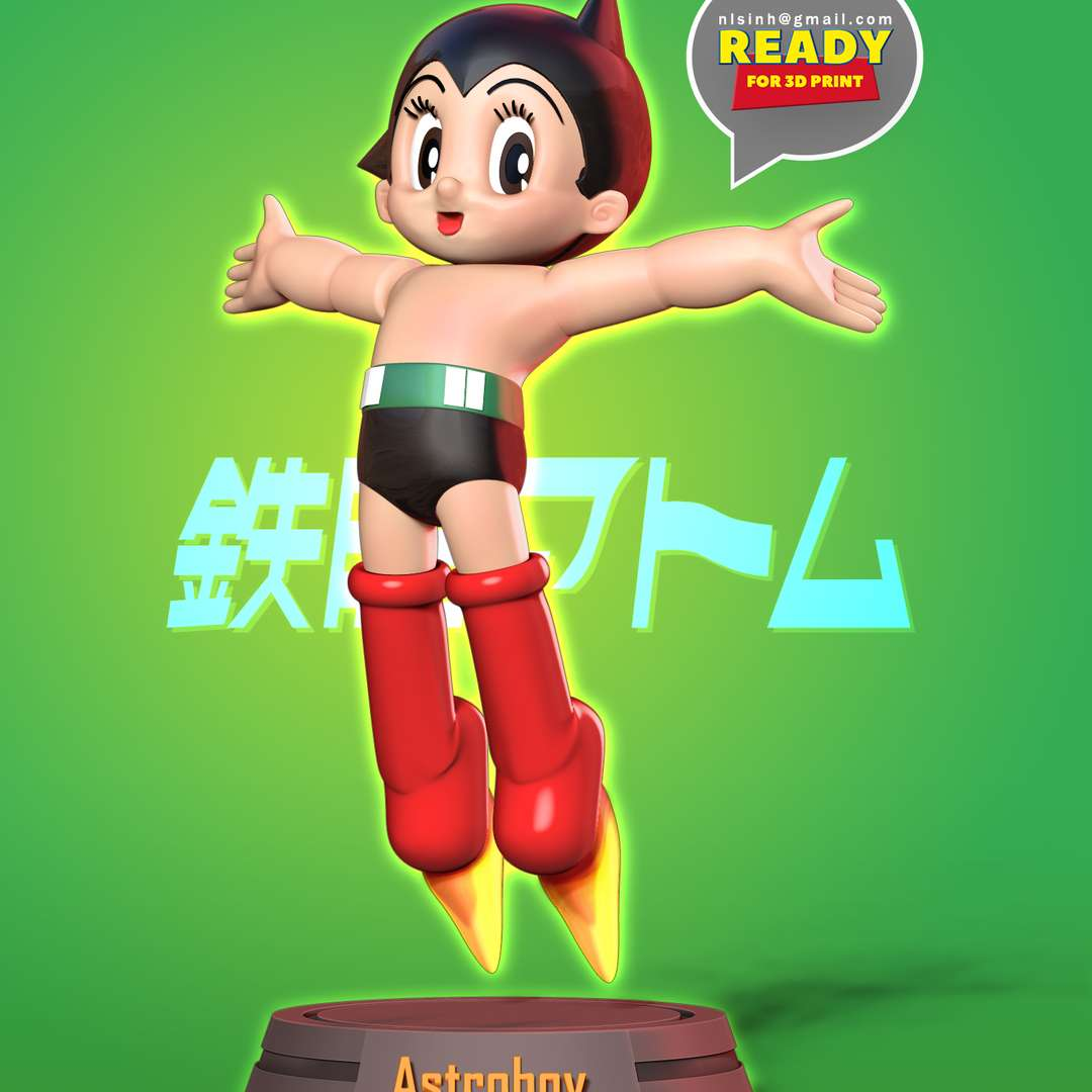 Astro Boy want to hug the world  - Astro Boy, known in Japan by its original name Mighty Atom (Japanese: 鉄腕アトム, Hepburn: Tetsuwan Atomu), is a Japanese manga series written and illustrated by Osamu Tezuka.  Astro Boy: I want to hug the world  When you purchase this model, you will own:  - STL, OBJ file with 06 separated files (with key to connect together) is ready for 3D printing.  - Zbrush original files (ZTL) for you to customize as you like.  This is version 1.0 of this model.  Hope you like him. Thanks for viewing! - Os melhores arquivos para impressão 3D do mundo. Modelos stl divididos em partes para facilitar a impressão 3D. Todos os tipos de personagens, decoração, cosplay, próteses, peças. Qualidade na impressão 3D. Modelos 3D com preço acessível. Baixo custo. Compras coletivas de arquivos 3D.