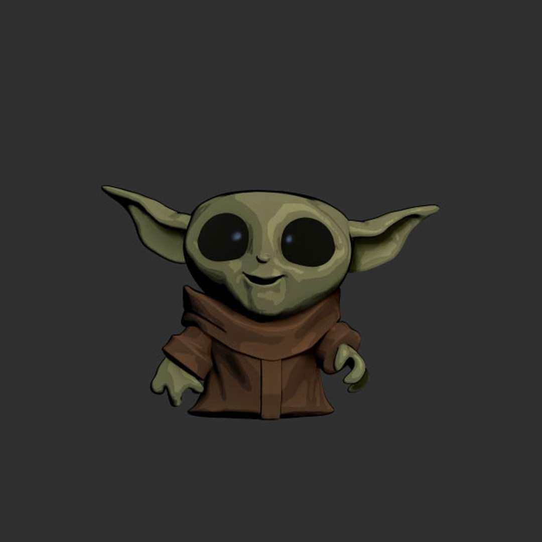 """Baby Yoda Toon - Grogu, known to many simply as """"the Child,"""" was a male Force-sensitive Jedi and Mandalorian foundling who belonged to the same species as Jedi Grand Master Yoda and Jedi Master Yaddle. Grogu was born in the year 41 BBY, and was raised at the Jedi Temple on Coruscant.  By purchasing this model, you will have:  STL, OBJ file (with key to connect) is ready for 3D printing.  Original Zbrush (ZTL) files for you to customize as you like.  Hope you like it.  - Os melhores arquivos para impressão 3D do mundo. Modelos stl divididos em partes para facilitar a impressão 3D. Todos os tipos de personagens, decoração, cosplay, próteses, peças. Qualidade na impressão 3D. Modelos 3D com preço acessível. Baixo custo. Compras coletivas de arquivos 3D."""