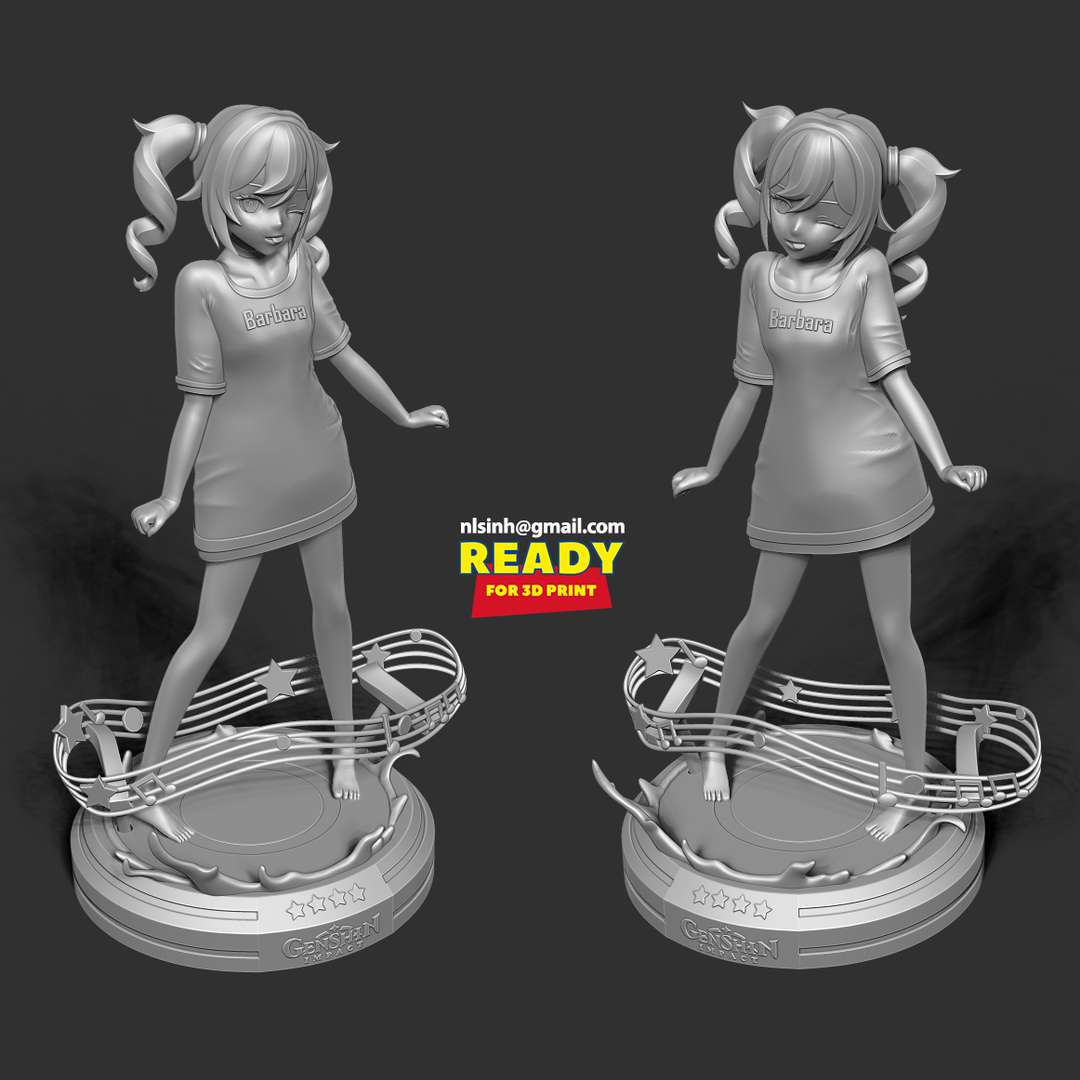 Barbara Pegg - Genshin Impact Fanart - Barbara Pegg is a playable Hydro character in Genshin Impact.  When you purchase this model, you will own:  - STL, OBJ file with 05 separated files (with key to connect together) is ready for 3D printing.  - Zbrush original files (ZTL) for you to customize as you like.  This is version 1.0 of this model.  Hope you like her. Thanks for viewing! - The best files for 3D printing in the world. Stl models divided into parts to facilitate 3D printing. All kinds of characters, decoration, cosplay, prosthetics, pieces. Quality in 3D printing. Affordable 3D models. Low cost. Collective purchases of 3D files.
