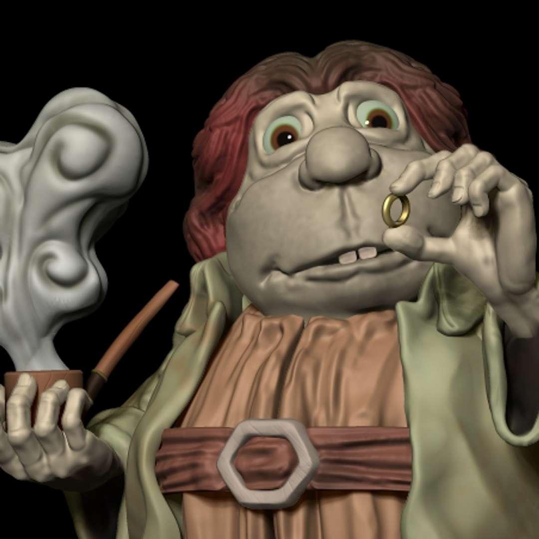 Bilbo com o Anel - Escultura de Bilbo Bolseiro inspirada na animação de 1977 do antigo Studio Ghibli. Projeto finalizado e pronto para ser impresso em peça única, apenas separado da base - Los mejores archivos para impresión 3D del mundo. Modelos Stl divididos en partes para facilitar la impresión 3D. Todo tipo de personajes, decoración, cosplay, prótesis, piezas. Calidad en impresión 3D. Modelos 3D asequibles. Bajo costo. Compras colectivas de archivos 3D.