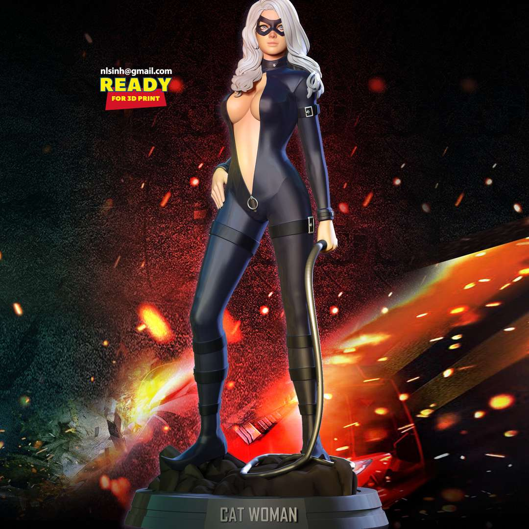 Black Cat Fanart - Black Cat is a fictional character appearing in American comic books published by Marvel Comics.  When you purchase this model, you will own:  - STL, OBJ file with 05 separated files (with key to connect together) is ready for 3D printing.  - Zbrush original files (ZTL) for you to customize as you like.  This is version 1.0 of this model.  Thanks for viewing! - The best files for 3D printing in the world. Stl models divided into parts to facilitate 3D printing. All kinds of characters, decoration, cosplay, prosthetics, pieces. Quality in 3D printing. Affordable 3D models. Low cost. Collective purchases of 3D files.