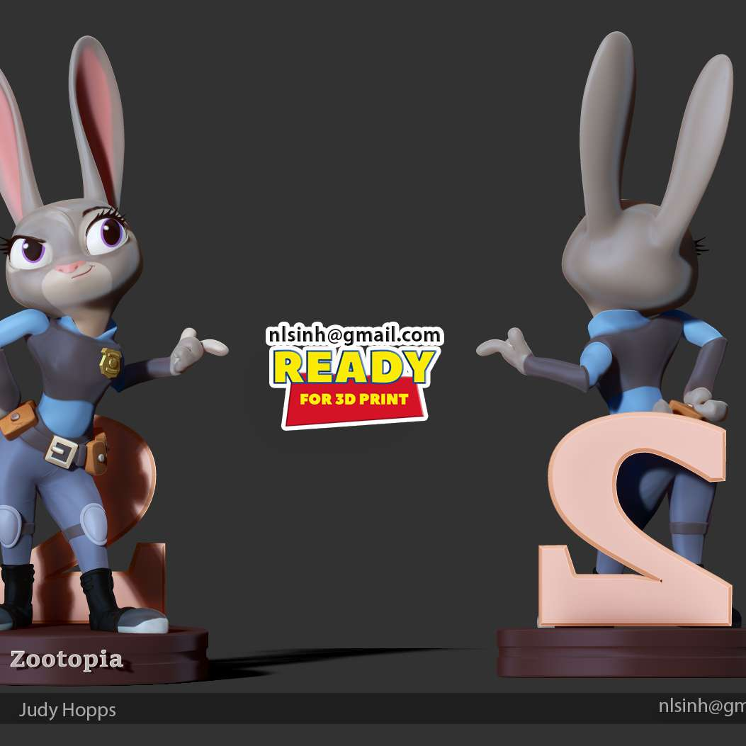 """Judy Hoops Fanart - > Officer Judith Laverne """"Judy"""" Hopps is a female rabbit and the protagonist of Zootopia. She is the daughter of Bonnie and Stu Hopps and is a member of the Hopps family.  I love Judy because she is fiercely optimistic and independent. - Follow Zootopia wiki -  When you buy this product, you will own:  ** STL files are ready for 3D printing.**  _17th March, 2019: This is version 1.0 of this model._  _09th January, 2021: version 1.1  - Split into 07 separate parts and create keys to connect those parts ready for 3D printing._  Thanks for viewing! Hope this model will be useful for you. - Os melhores arquivos para impressão 3D do mundo. Modelos stl divididos em partes para facilitar a impressão 3D. Todos os tipos de personagens, decoração, cosplay, próteses, peças. Qualidade na impressão 3D. Modelos 3D com preço acessível. Baixo custo. Compras coletivas de arquivos 3D."""