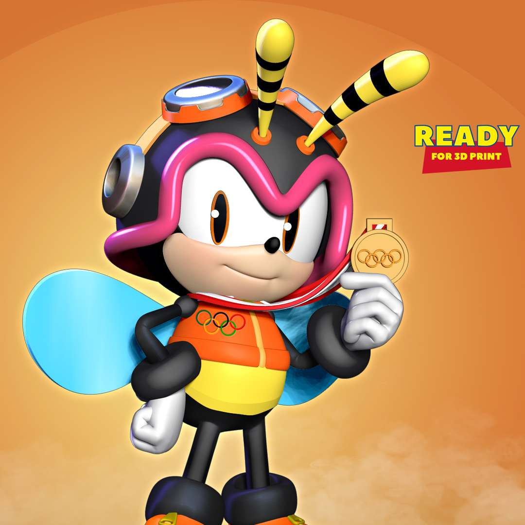Charmy Bee wins gold medal at Olympics - Charmy Bee is a fictional character from the Sonic the Hedgehog series.  When you purchase this model, you will own:  - STL, OBJ file with 05 separated files (with key to connect together) is ready for 3D printing.  - Zbrush original files (ZTL) for you to customize as you like.  This is version 1.0 of this model.  Hope you like him. Thanks for viewing! - The best files for 3D printing in the world. Stl models divided into parts to facilitate 3D printing. All kinds of characters, decoration, cosplay, prosthetics, pieces. Quality in 3D printing. Affordable 3D models. Low cost. Collective purchases of 3D files.