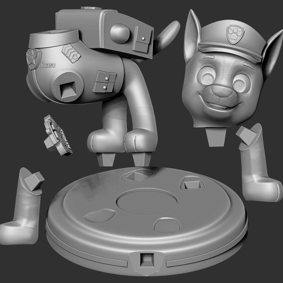 Chase - Paw Patrol The Movie - This August we will see the Paw Patrol dogs again at the cinemas.  When you purchase this model, you will own:  - STL, OBJ file with 06 separated files (with key to connect together) is ready for 3D printing.  - Zbrush original files (ZTL) for you to customize as you like.  This is version 1.0 of this model.  Hope you like him. Thanks for viewing! - Los mejores archivos para impresión 3D del mundo. Modelos Stl divididos en partes para facilitar la impresión 3D. Todo tipo de personajes, decoración, cosplay, prótesis, piezas. Calidad en impresión 3D. Modelos 3D asequibles. Bajo costo. Compras colectivas de archivos 3D.