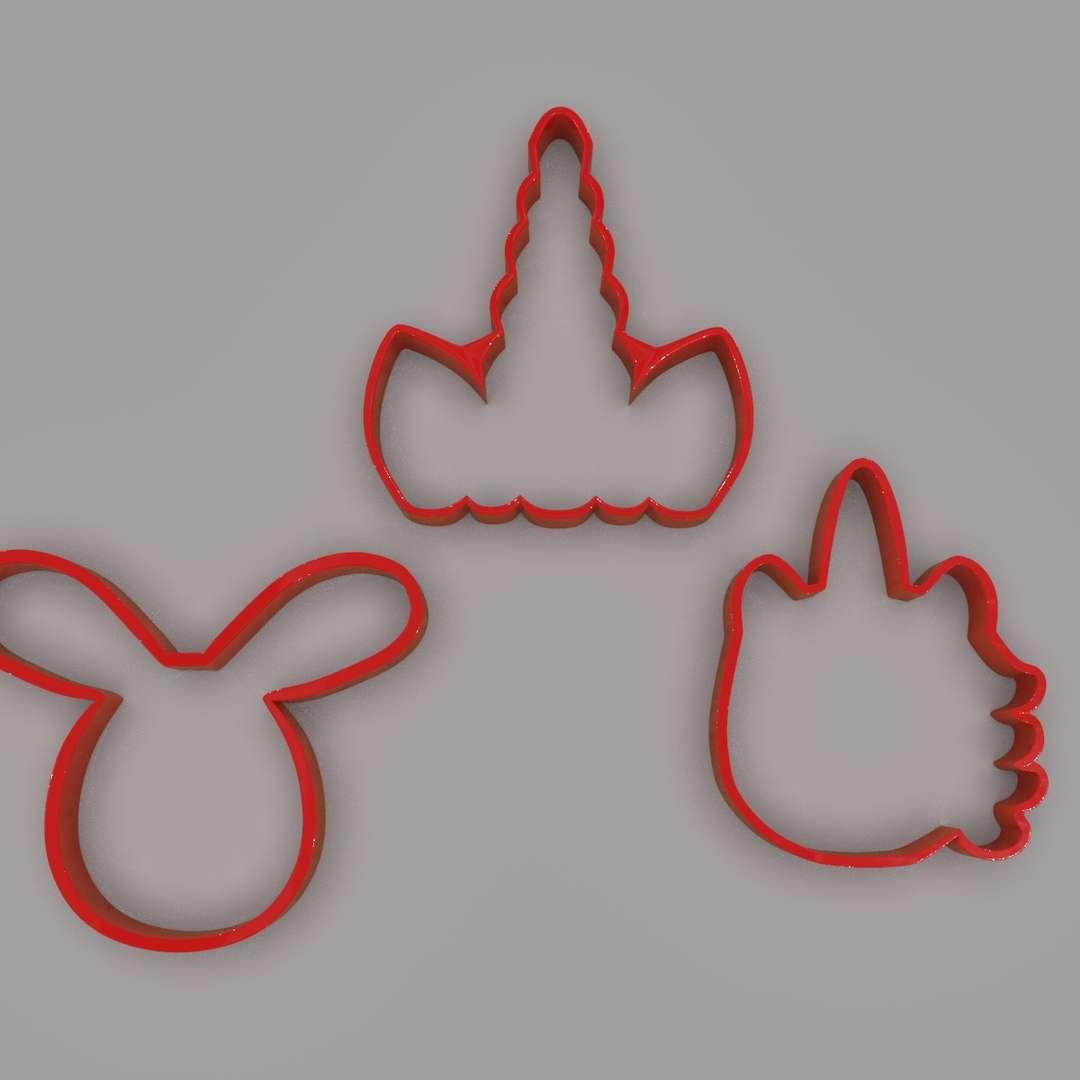 Cookie Cutter Unicorns and Rabbit Pack - A cookie-cutter pack of a unicorn head, unicorn horn, and a rabbit head ready for 3d print I included the OBJ and STL files if you need 3D Game Assets or STL files I can do commission works.   - Los mejores archivos para impresión 3D del mundo. Modelos Stl divididos en partes para facilitar la impresión 3D. Todo tipo de personajes, decoración, cosplay, prótesis, piezas. Calidad en impresión 3D. Modelos 3D asequibles. Bajo costo. Compras colectivas de archivos 3D.
