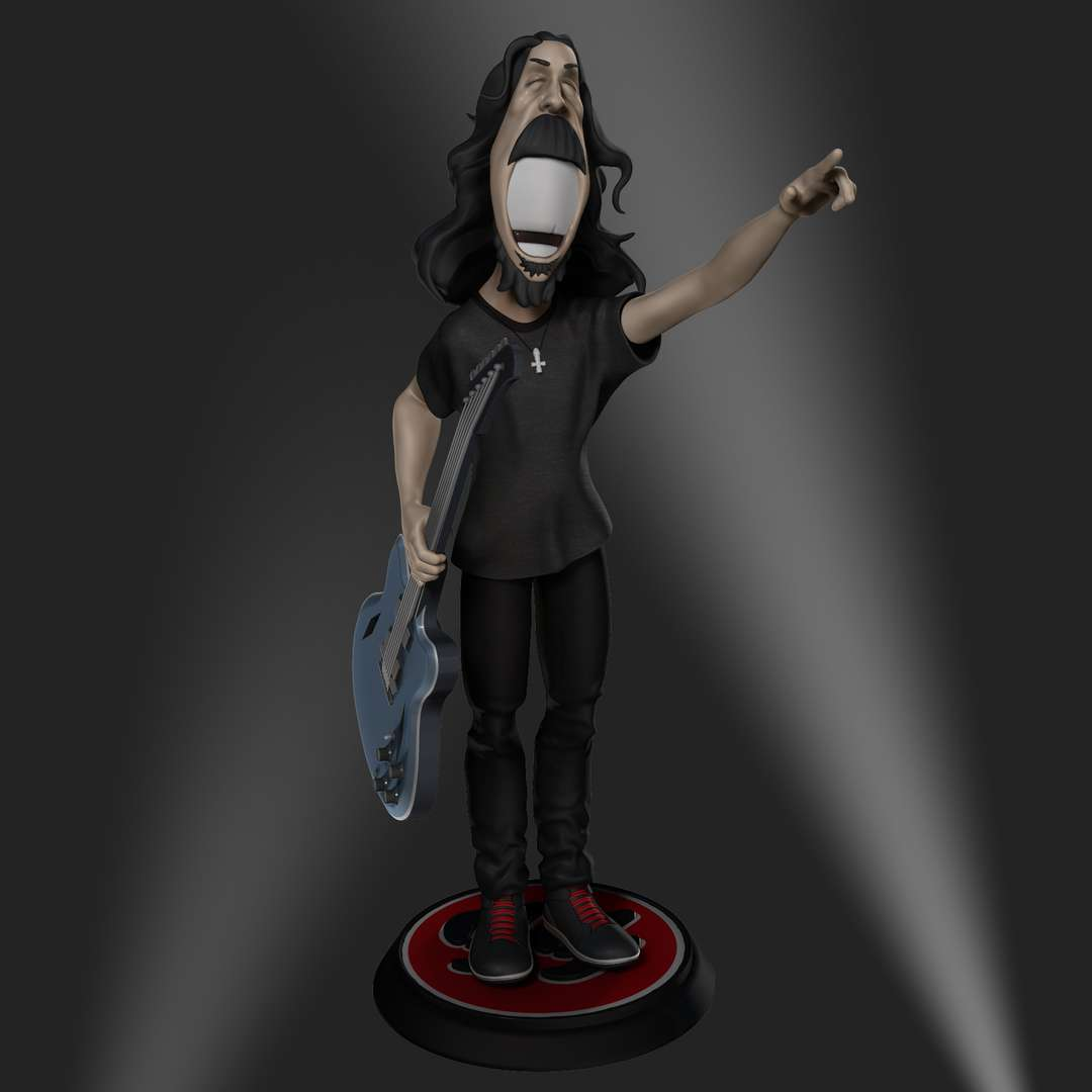Dave Grohl caricature - A caricature of Dave Grohl, standing on a disc with the Foo Fighters logo. - Os melhores arquivos para impressão 3D do mundo. Modelos stl divididos em partes para facilitar a impressão 3D. Todos os tipos de personagens, decoração, cosplay, próteses, peças. Qualidade na impressão 3D. Modelos 3D com preço acessível. Baixo custo. Compras coletivas de arquivos 3D.