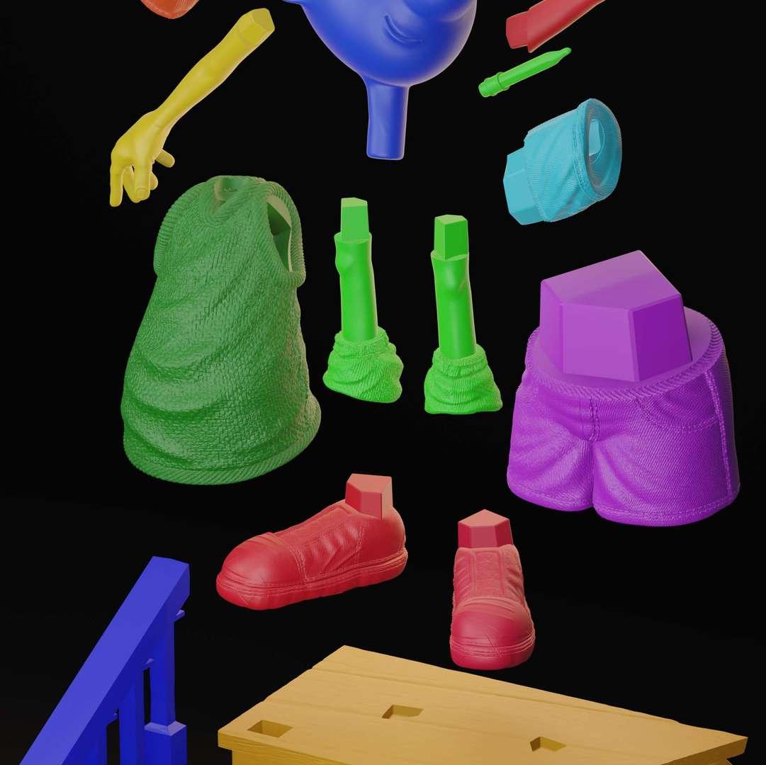 Doug Funnie - The piece was made in 13 parts!  the file is scaled to 13cm, so it makes the smallest details difficult, it is better to increase the size if you do not have high definition printers.  Well, I hope you like it! - Los mejores archivos para impresión 3D del mundo. Modelos Stl divididos en partes para facilitar la impresión 3D. Todo tipo de personajes, decoración, cosplay, prótesis, piezas. Calidad en impresión 3D. Modelos 3D asequibles. Bajo costo. Compras colectivas de archivos 3D.