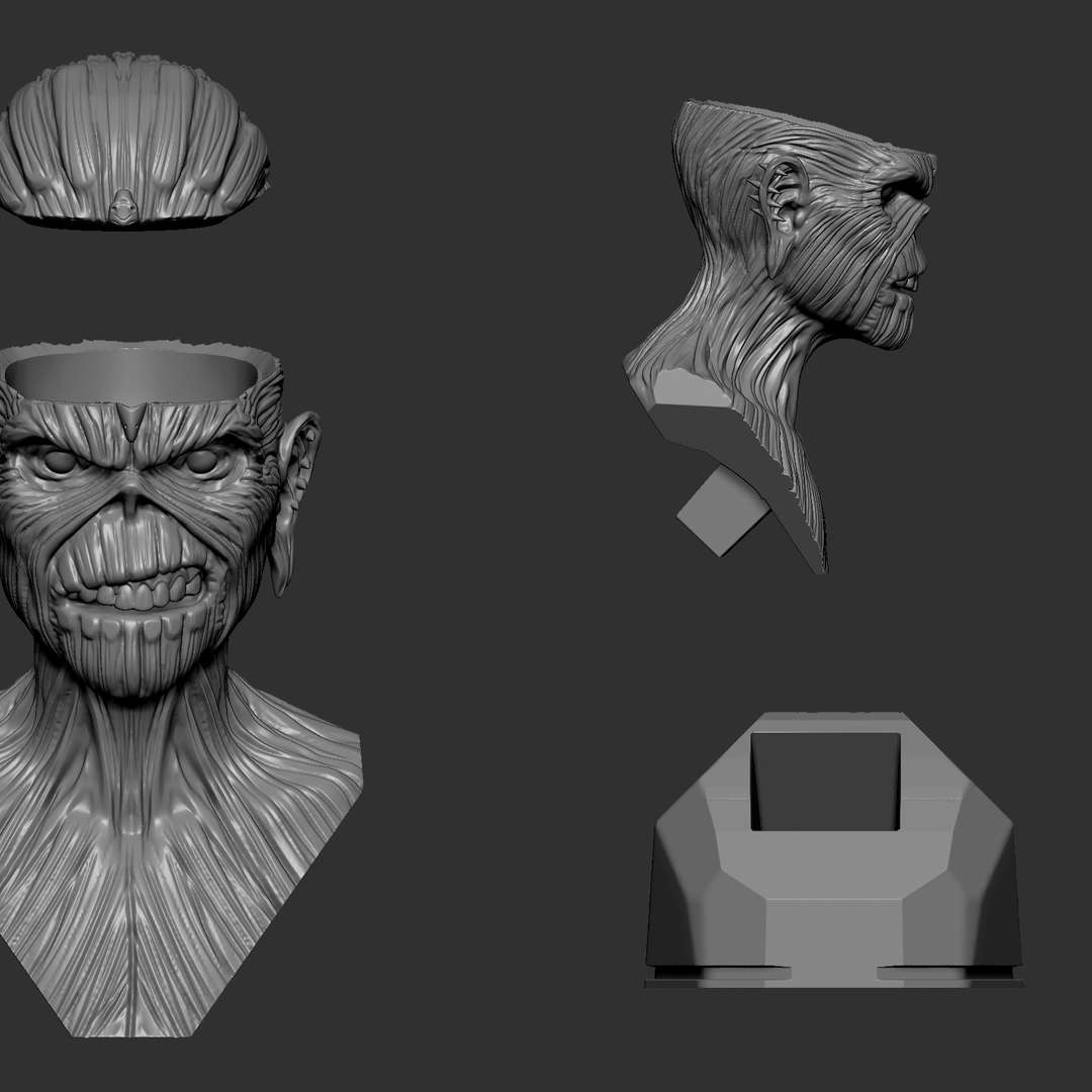 Eddie (Iron Maiden)02 - print-ready cut bust - The best files for 3D printing in the world. Stl models divided into parts to facilitate 3D printing. All kinds of characters, decoration, cosplay, prosthetics, pieces. Quality in 3D printing. Affordable 3D models. Low cost. Collective purchases of 3D files.