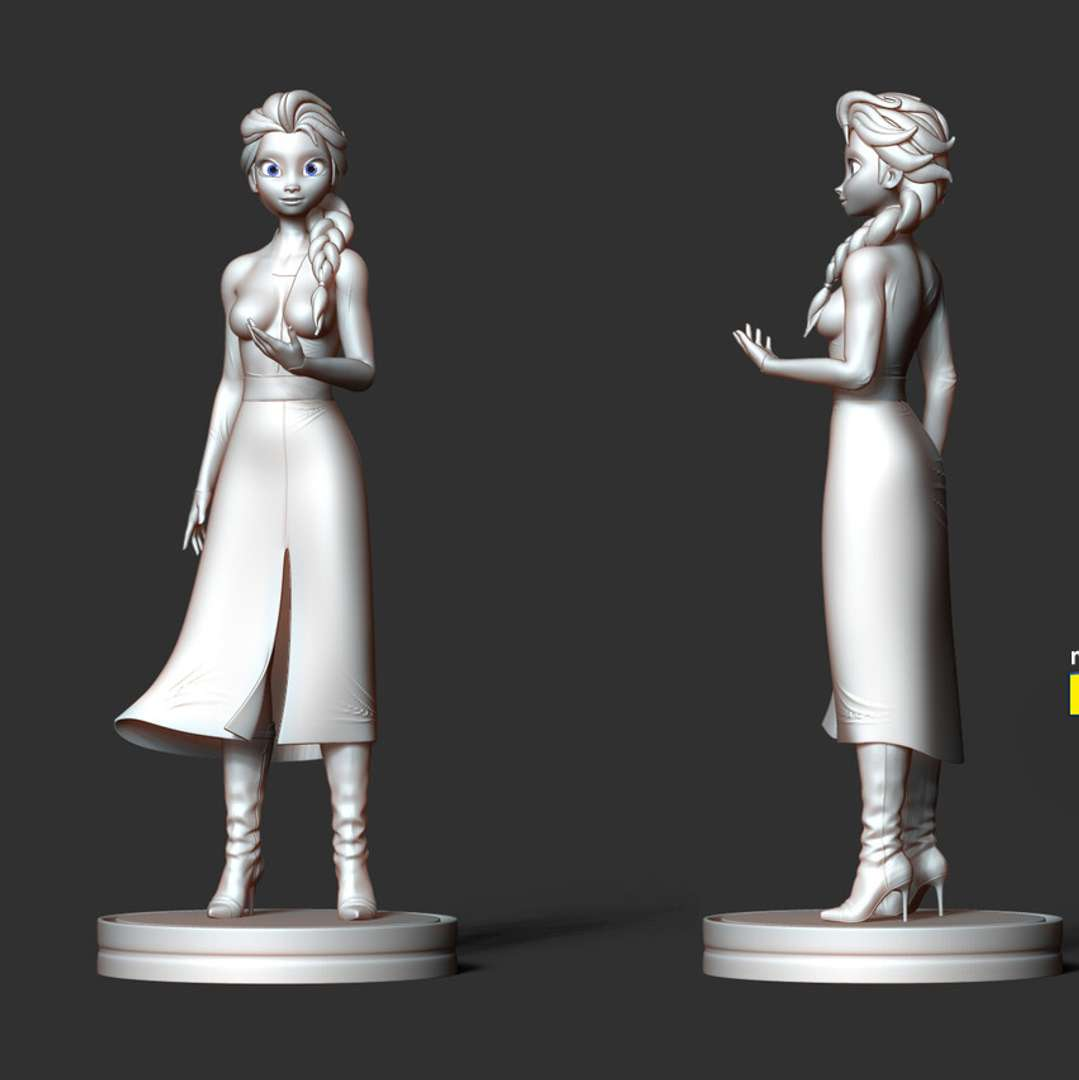 Elsa - Frozen 2 Fanart - When you buy this model, you will own: * Original files of Zbrush ZTL, ZPR for easy editing to suit your requirements.  * File OBJ, STL used for 3D printing.  - This is version 1.1 (7th March: Split into sections to be ready for 3D printing.) - This is version 1.2 (25th March: Add another version: Merge into 1 piece for those who need it. Merge all into 1 piece for those who need it.) - 1st August, 2020: version 1.3 - Split and create standard keys for easy printing and coloring.  - 08th December, 2020: version 1.4 - Fix the lower body and legs for the correct connection.  Thank you for viewing my model. Hope you enjoy her! :) - Los mejores archivos para impresión 3D del mundo. Modelos Stl divididos en partes para facilitar la impresión 3D. Todo tipo de personajes, decoración, cosplay, prótesis, piezas. Calidad en impresión 3D. Modelos 3D asequibles. Bajo costo. Compras colectivas de archivos 3D.