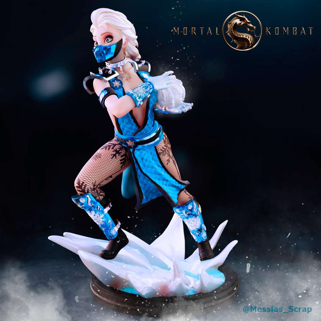 Elsa Sub-Zero - What if elsa was in the Mortal Kombat tournament?  - The best files for 3D printing in the world. Stl models divided into parts to facilitate 3D printing. All kinds of characters, decoration, cosplay, prosthetics, pieces. Quality in 3D printing. Affordable 3D models. Low cost. Collective purchases of 3D files.
