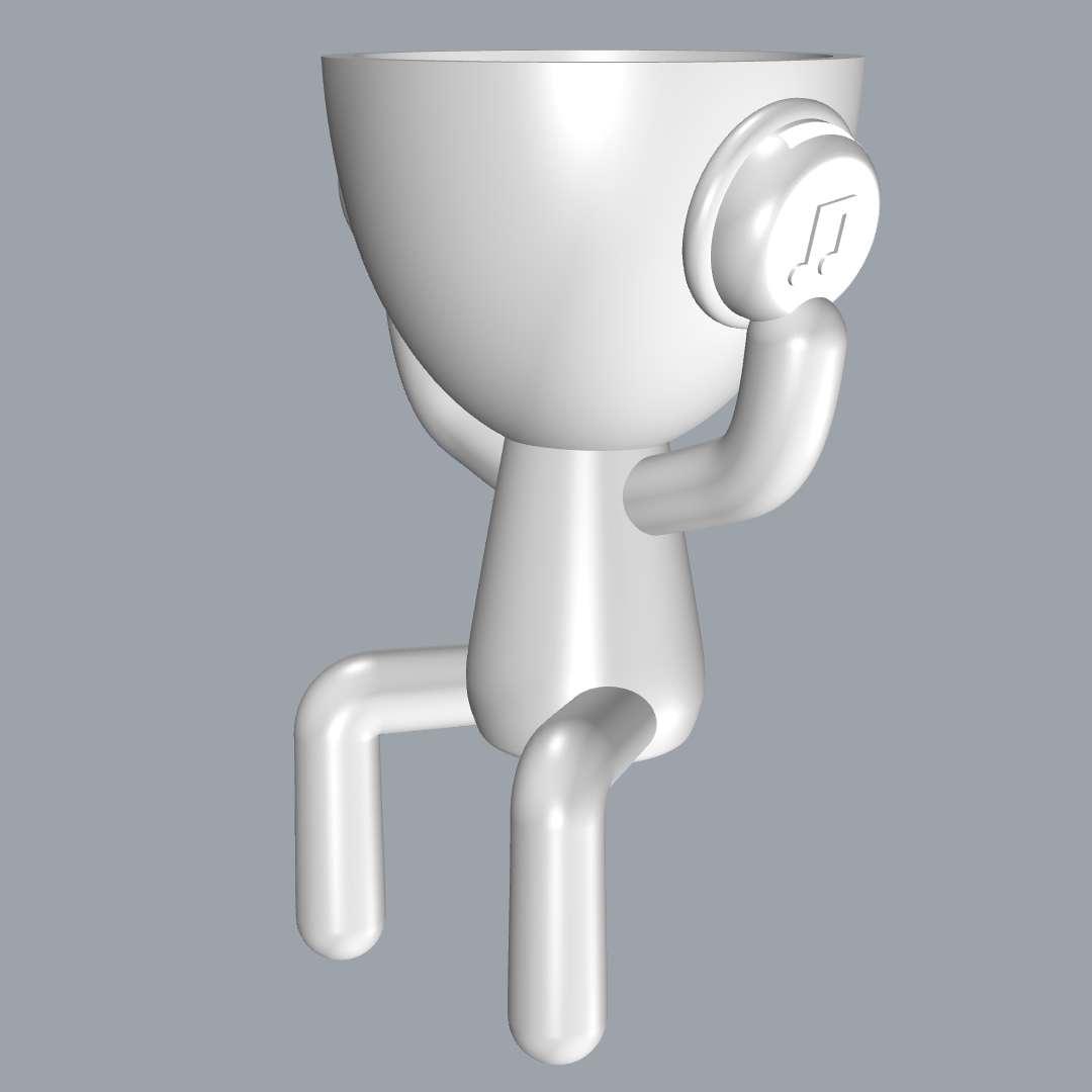 Boneco Fone de Ouvido - Printed model separated into 3 parts, speaker, rod and doll. - Os melhores arquivos para impressão 3D do mundo. Modelos stl divididos em partes para facilitar a impressão 3D. Todos os tipos de personagens, decoração, cosplay, próteses, peças. Qualidade na impressão 3D. Modelos 3D com preço acessível. Baixo custo. Compras coletivas de arquivos 3D.