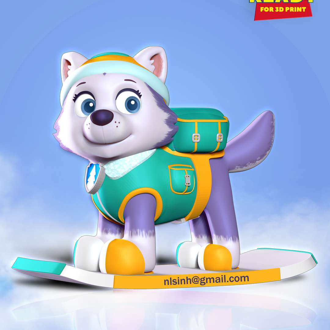"""Everest - Paw Patrol Fanart - Everest is a female husky who debuted in the Season 2 episode """"The New Pup  This August we will see the Paw Patrol dogs again at the cinemas.  When you purchase this model, you will own:  - STL, OBJ file with 03 separated files (with key to connect together) is ready for 3D printing.  - Zbrush original files (ZTL) for you to customize as you like.  This is version 1.0 of this model.  Hope you like her. Thanks for viewing! - The best files for 3D printing in the world. Stl models divided into parts to facilitate 3D printing. All kinds of characters, decoration, cosplay, prosthetics, pieces. Quality in 3D printing. Affordable 3D models. Low cost. Collective purchases of 3D files."""