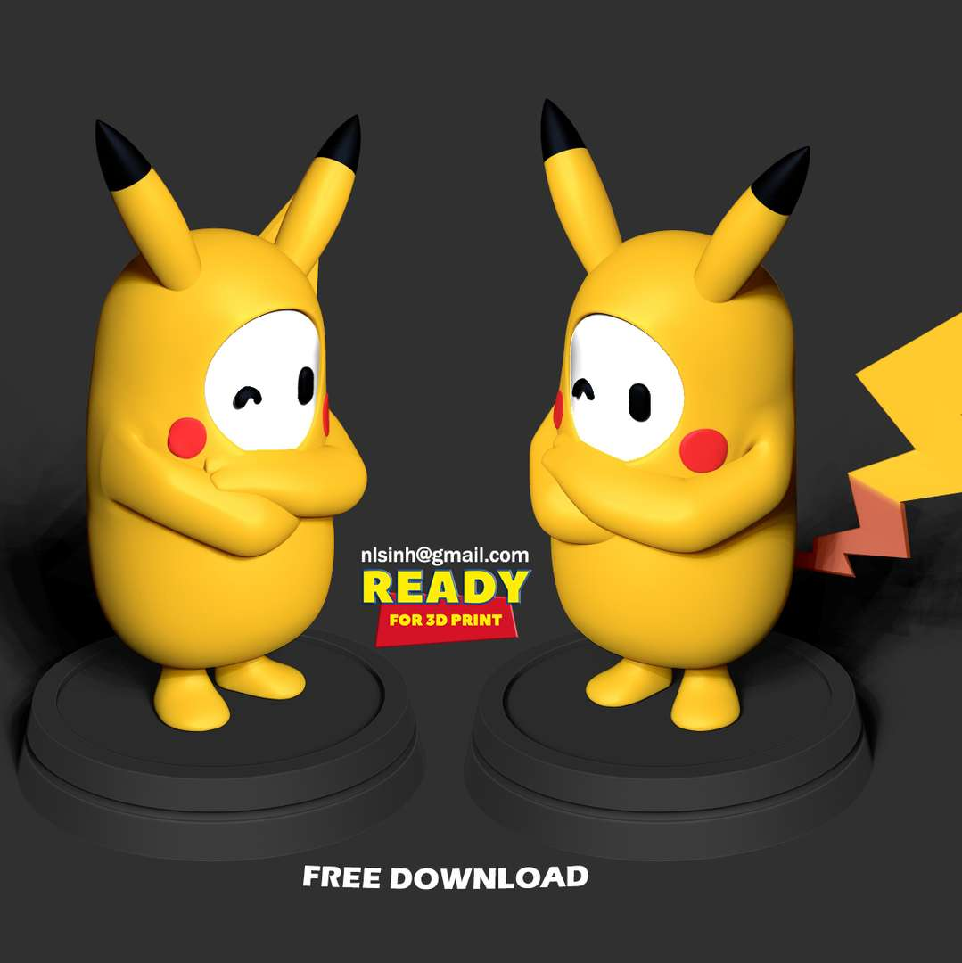 Fall Guys Pikachu - Hope everyone will like this model.  When you purchase this model, you will own:  - STL, OBJ file with 02 separated files (with key to connect together) is ready for 3D printing.  - Zbrush original files (ZTL) for you to customize as you like.  This is version 1.0 of this model.  Hope you like him. Thanks for viewing! - The best files for 3D printing in the world. Stl models divided into parts to facilitate 3D printing. All kinds of characters, decoration, cosplay, prosthetics, pieces. Quality in 3D printing. Affordable 3D models. Low cost. Collective purchases of 3D files.