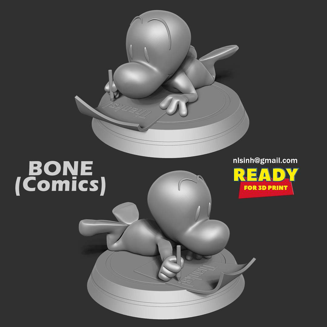Fone Bone - Fone Bone is the main protagonist of the original Bone series by Jeff Smith. - quote from wiki  When you purchase this model, you will own:  - STL, OBJ file with 02 separated files (with key to connect together) is ready for 3D printing.  - Zbrush original files (ZTL) for you to customize as you like.  This is version 1.0 of this model.  Hope you like him. Thanks for viewing! - The best files for 3D printing in the world. Stl models divided into parts to facilitate 3D printing. All kinds of characters, decoration, cosplay, prosthetics, pieces. Quality in 3D printing. Affordable 3D models. Low cost. Collective purchases of 3D files.