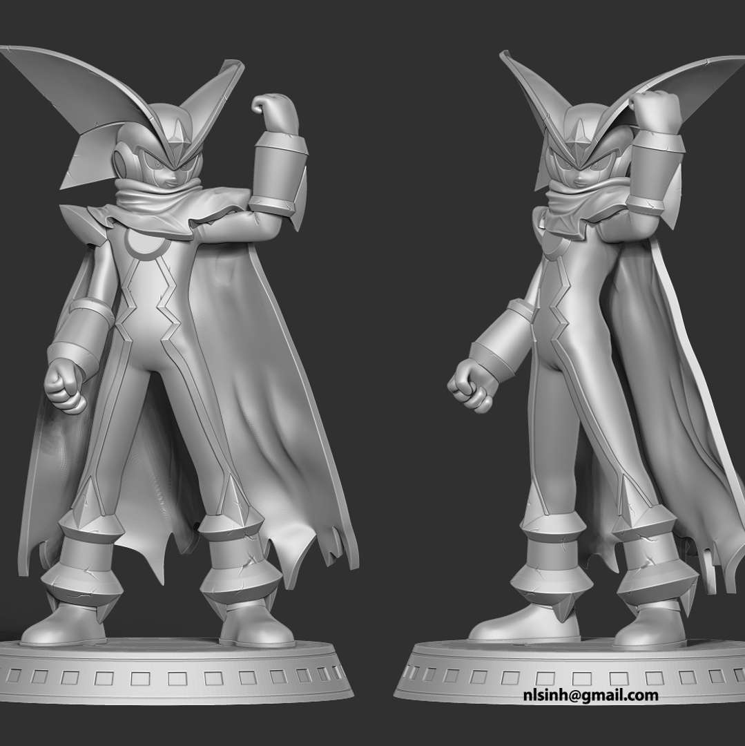 Forte EXE - Bass.EXE, known as Forte.EXE in Japan, is a Solo NetNavi that was created from the remaining data of PharaohMan.EXE.  When you purchase this model, you will own:  - STL, OBJ file with 05 separated files (with key to connect together) is ready for 3D printing.  - Zbrush original files (ZTL) for you to customize as you like.  This is version 1.0 of this model.  Hope you like him. Thanks for viewing! - The best files for 3D printing in the world. Stl models divided into parts to facilitate 3D printing. All kinds of characters, decoration, cosplay, prosthetics, pieces. Quality in 3D printing. Affordable 3D models. Low cost. Collective purchases of 3D files.