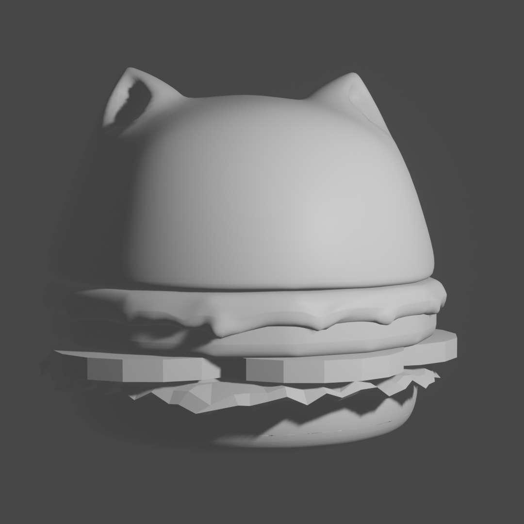 Hamburger Cat Character - Hamburger Cat! Yummy! This cat likes to bounce around. For personal use only! - Os melhores arquivos para impressão 3D do mundo. Modelos stl divididos em partes para facilitar a impressão 3D. Todos os tipos de personagens, decoração, cosplay, próteses, peças. Qualidade na impressão 3D. Modelos 3D com preço acessível. Baixo custo. Compras coletivas de arquivos 3D.