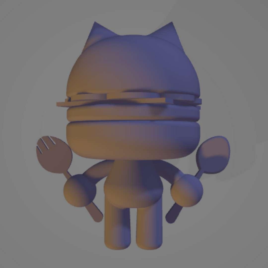 Hamburger Kitty 2 - Meant to be printed at about 7cm wide. - Los mejores archivos para impresión 3D del mundo. Modelos Stl divididos en partes para facilitar la impresión 3D. Todo tipo de personajes, decoración, cosplay, prótesis, piezas. Calidad en impresión 3D. Modelos 3D asequibles. Bajo costo. Compras colectivas de archivos 3D.