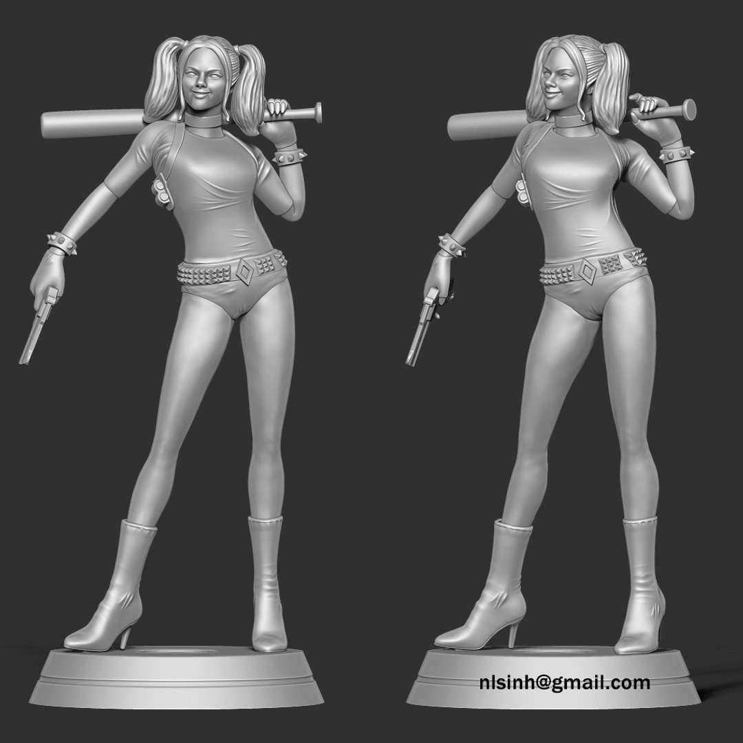 Harley Quinn - We'll see her again in August in The Suicide Squad (2021).  When you purchase this model, you will own:  - STL, OBJ file with 06 separated files (with key to connect together) is ready for 3D printing.  - Zbrush original files (ZTL) for you to customize as you like. (DM me if you want)  9th Jan, 2020: This is version 1.0 of this model.  28th June, 2021: version 1.1: Cut off the redundant parts, create a key that connects the blocks together.  Thanks so much for viewing my model!  Hope you guys like her :) - Os melhores arquivos para impressão 3D do mundo. Modelos stl divididos em partes para facilitar a impressão 3D. Todos os tipos de personagens, decoração, cosplay, próteses, peças. Qualidade na impressão 3D. Modelos 3D com preço acessível. Baixo custo. Compras coletivas de arquivos 3D.