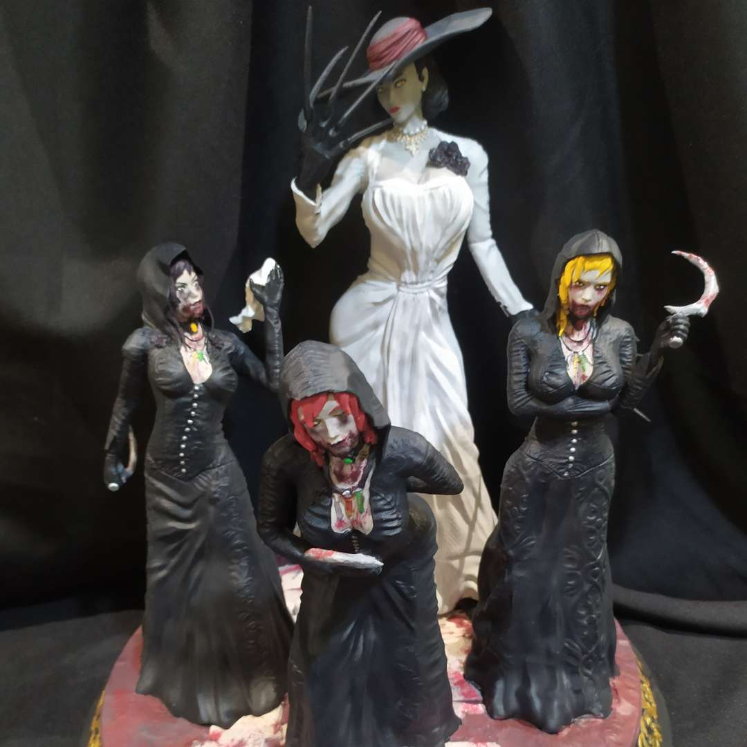 House Dimitrescu - RE Village - Hi, i am André and a have a pleasure to share with you my new 3D model. With a iconic characters of Resident Evil Village! Alcina, Bela, Daniela and Cassandra Dimitrescu! So this model has been printed and tested on Ender 3.v2. All the plugs are working and the piece have 37cm since the base until the top. - The best files for 3D printing in the world. Stl models divided into parts to facilitate 3D printing. All kinds of characters, decoration, cosplay, prosthetics, pieces. Quality in 3D printing. Affordable 3D models. Low cost. Collective purchases of 3D files.