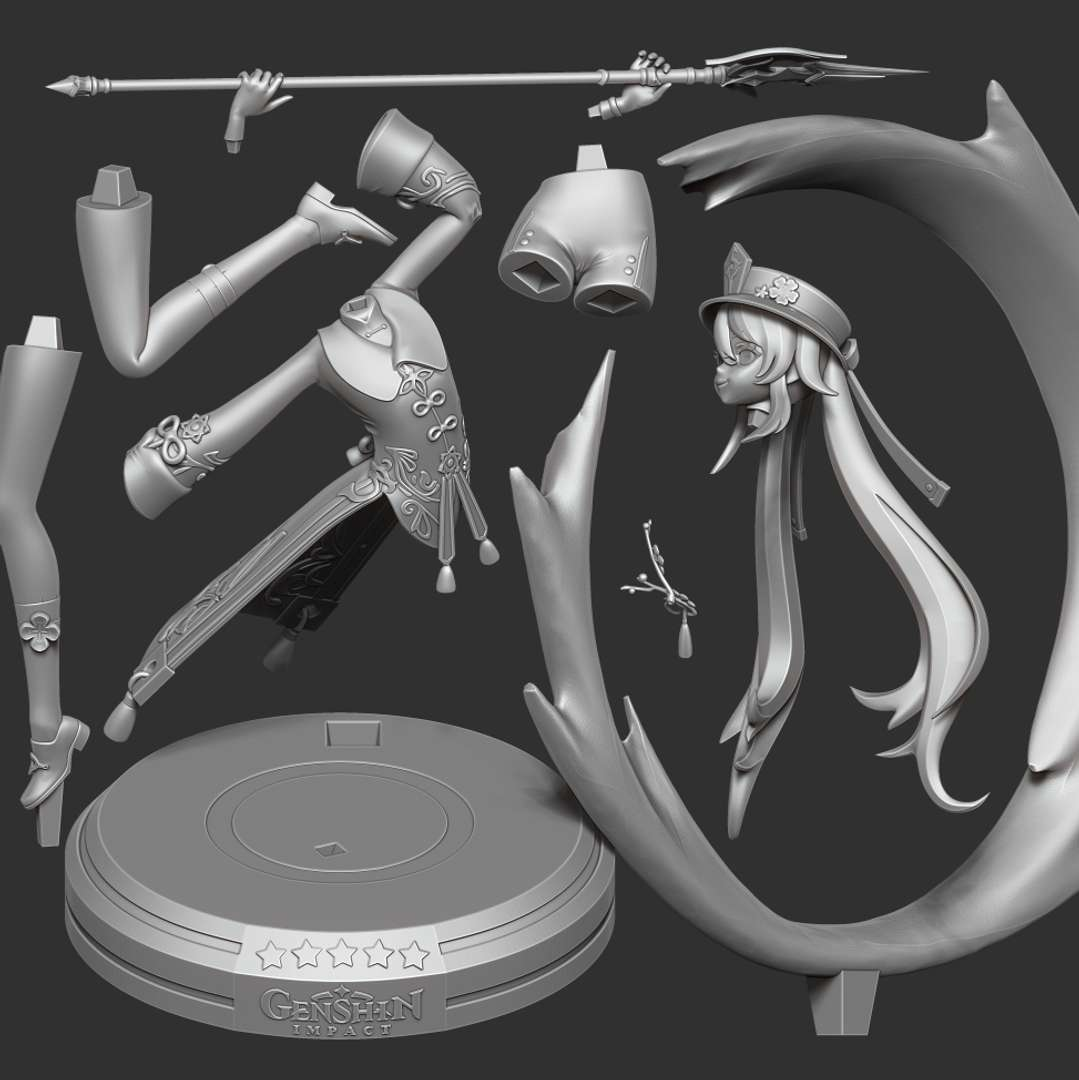 Hu Tao - Genshin Impact Fanart  - It took me 2 weeks to finish this character. Hope everyone will like and support me!  When you purchase this model, you will own:  - STL, OBJ file with 09 separated files (with key to connect together) is ready for 3D printing.  - Zbrush original files (ZTL) for you to customize as you like.  This is version 1.0 of this model.  Thanks for viewing! - The best files for 3D printing in the world. Stl models divided into parts to facilitate 3D printing. All kinds of characters, decoration, cosplay, prosthetics, pieces. Quality in 3D printing. Affordable 3D models. Low cost. Collective purchases of 3D files.