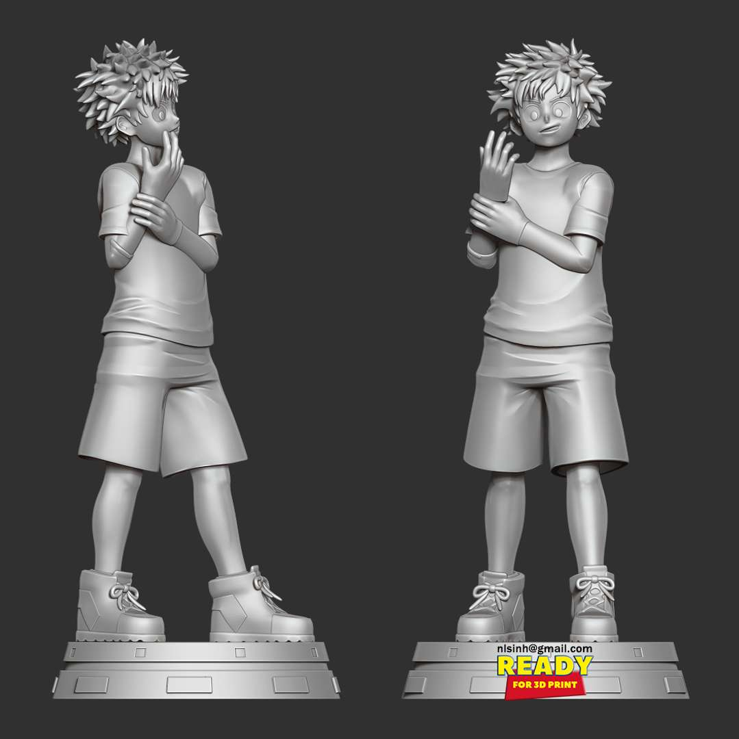 Izuku Midoriya - Izuku Midoriya (緑みどり谷や出いず久く Midoriya Izuku?), also known as Deku (デク Deku?), is the main protagonist of the My Hero Academia manga and anime series.  When you purchase this model, you will own:  - STL file with 05 separated files (with key to connect together) is ready for 3D printing.  - Zbrush original files (ZTL) for you to customize as you like. (DM me if you want)  This is version 1.0 of this model.  Hope you like him. Thanks for viewing! - The best files for 3D printing in the world. Stl models divided into parts to facilitate 3D printing. All kinds of characters, decoration, cosplay, prosthetics, pieces. Quality in 3D printing. Affordable 3D models. Low cost. Collective purchases of 3D files.