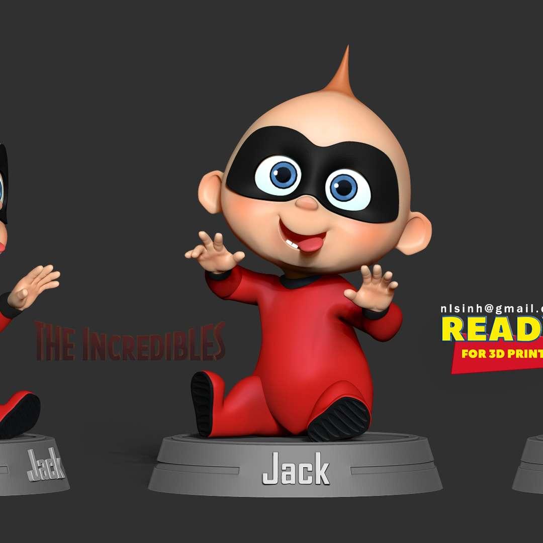 Jack-Jack Parr - Incredibles Fanart - John Jack-Jack Jackson Parr is the youngest son of Bob and Helen Parr, as well as the younger brother of Violet and Dash. - quote from wiki  When you purchase this model, you will own:  - STL, OBJ file with 03 separated files (with key to connect together) is ready for 3D printing.  - Zbrush original files (ZTL) for you to customize as you like.  This is version 1.0 of this model.  Hope you like him. Thanks for viewing! - Os melhores arquivos para impressão 3D do mundo. Modelos stl divididos em partes para facilitar a impressão 3D. Todos os tipos de personagens, decoração, cosplay, próteses, peças. Qualidade na impressão 3D. Modelos 3D com preço acessível. Baixo custo. Compras coletivas de arquivos 3D.