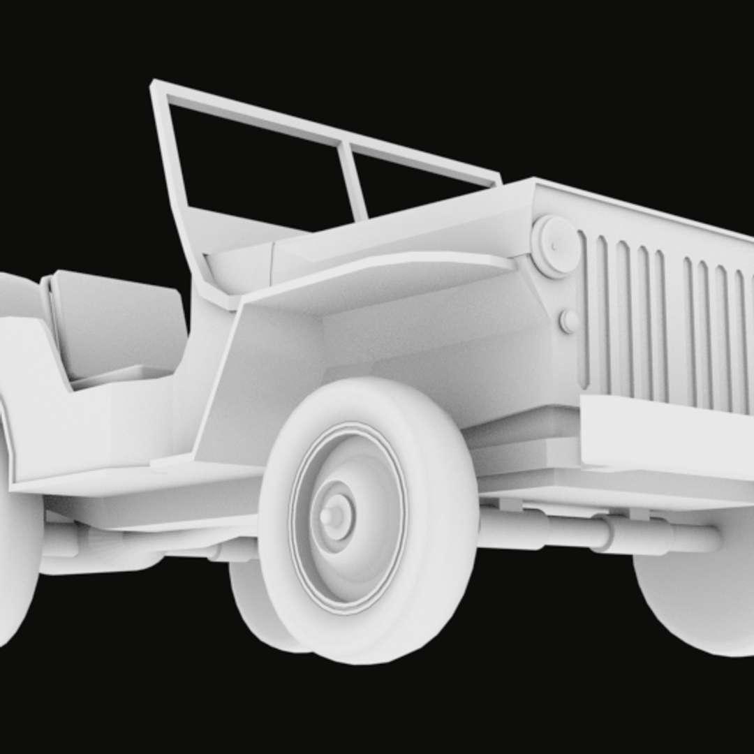 Jeep World War II 1942 OBJ - Jeep 1942 WWII  OBJ file  Separeted parts - Los mejores archivos para impresión 3D del mundo. Modelos Stl divididos en partes para facilitar la impresión 3D. Todo tipo de personajes, decoración, cosplay, prótesis, piezas. Calidad en impresión 3D. Modelos 3D asequibles. Bajo costo. Compras colectivas de archivos 3D.