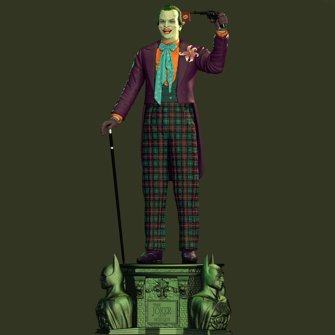 JOKER (1989) Jack Nicholson STL - The great actor Jack Nicholson in one of his best performances, Batman's Joker (1989). This project was completely inspired by the look of the film and brings with it some of the accessories used by the villain. This was the most fun project to do, as I remembered my childhood and the first Batman movie I watched on TV, and watching Tim Burton's Batman movie again was another wonderful experience, eternal love for the classics. Another great project for DARK SKULL Collectibles  Size: 300mm scale Only STL for 3D printing - Os melhores arquivos para impressão 3D do mundo. Modelos stl divididos em partes para facilitar a impressão 3D. Todos os tipos de personagens, decoração, cosplay, próteses, peças. Qualidade na impressão 3D. Modelos 3D com preço acessível. Baixo custo. Compras coletivas de arquivos 3D.
