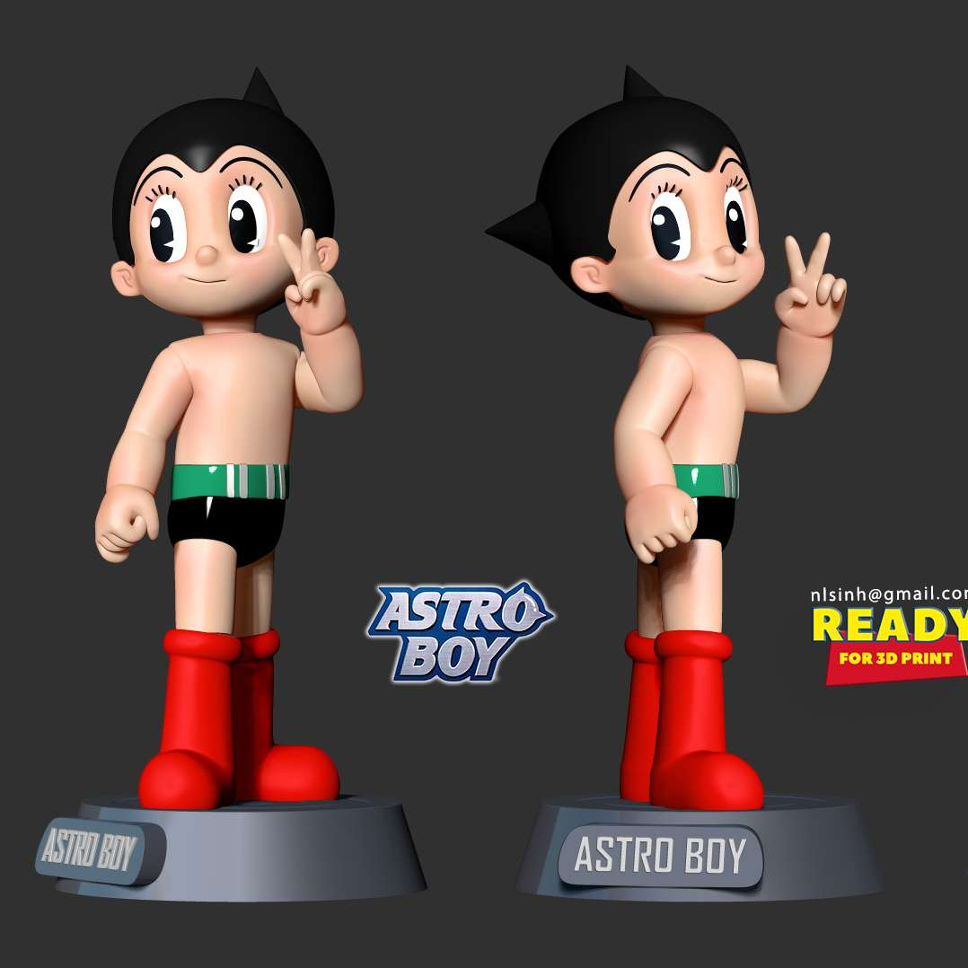 Astro Boy - Astro Boy, known in Japan by its original name Mighty Atom (Japanese: 鉄腕アトム, Hepburn: Tetsuwan Atomu), is a Japanese manga series written and illustrated by Osamu Tezuka.  When you purchase this model, you will own:  **- STL, OBJ file with 06 separated files (with key to connect together) is ready for 3D printing.**  **- Zbrush original files (ZTL) for you to customize as you like.**  _This is version 1.0 of this model._  Hope you like him. Thanks for viewing! - Los mejores archivos para impresión 3D del mundo. Modelos Stl divididos en partes para facilitar la impresión 3D. Todo tipo de personajes, decoración, cosplay, prótesis, piezas. Calidad en impresión 3D. Modelos 3D asequibles. Bajo costo. Compras colectivas de archivos 3D.