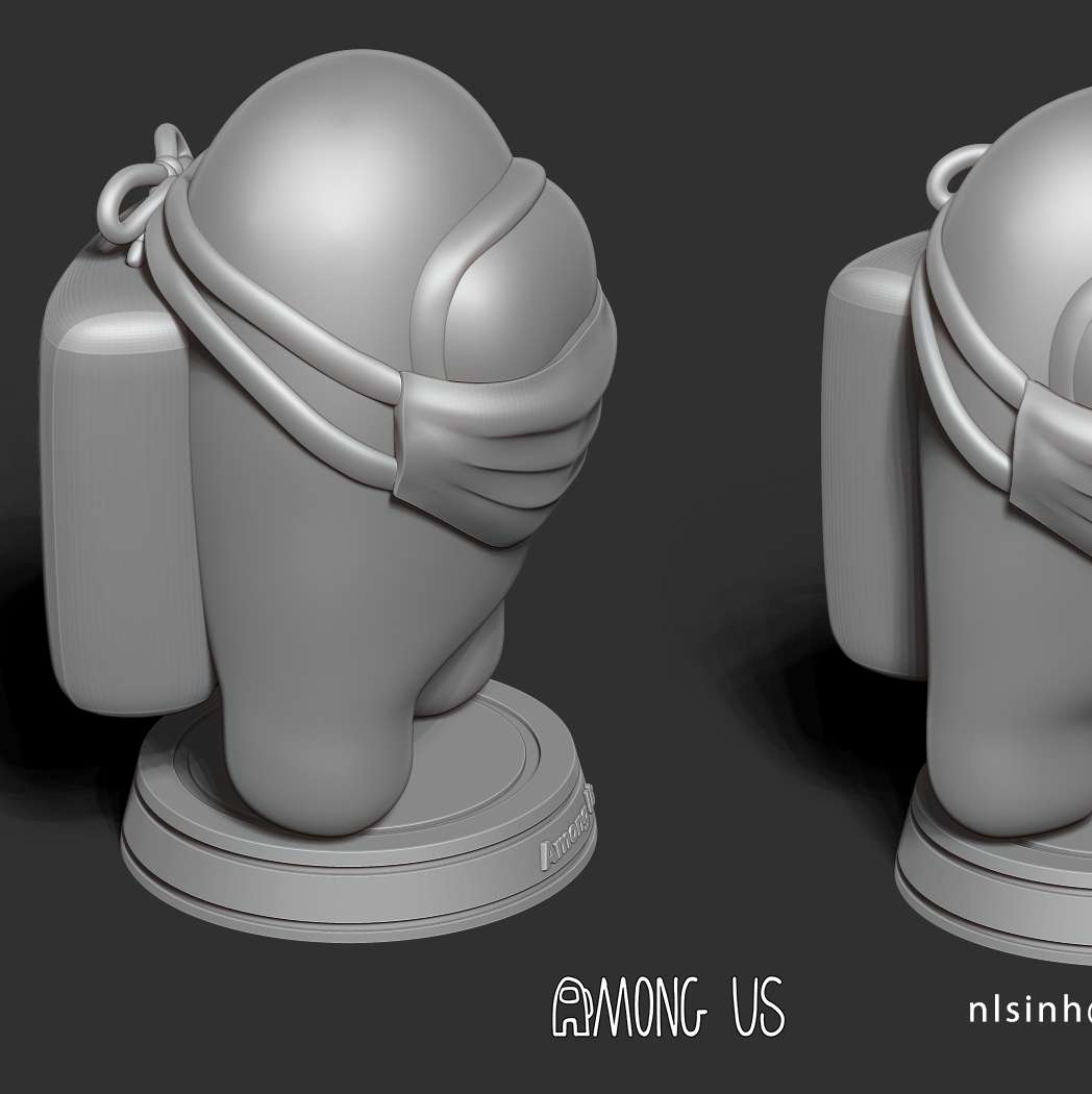 Among us - Wear a mask like Among Us to protect against covid-19.  I have divided the 6 individual parts to make it easy for 3D printing:  **- OBJ, STL files are ready for 3D printing.**  **- Zbrush original files for you to customize as you like.**  _This is version 1.0 of this model._  Thanks very much for viewing my model. Hope you guys like him. Best regards! - The best files for 3D printing in the world. Stl models divided into parts to facilitate 3D printing. All kinds of characters, decoration, cosplay, prosthetics, pieces. Quality in 3D printing. Affordable 3D models. Low cost. Collective purchases of 3D files.