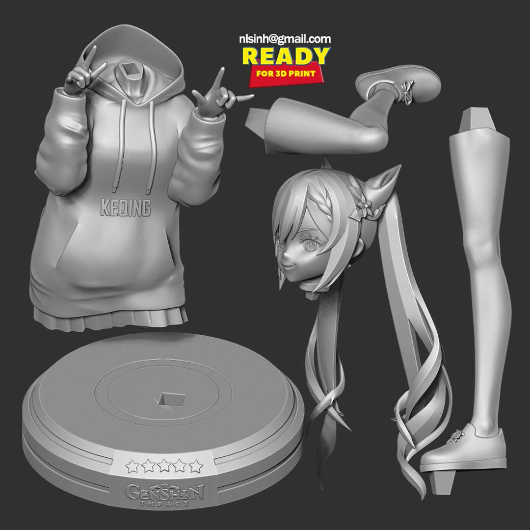 Keqing - Genshin Impact Fanart - Keqing (Chinese: 刻晴 Kèqíng, Sunny Moment or Delicate Carving) is a playable Electro character in Genshin Impact. - quote from wiki  When you purchase this model, you will own:  - STL, OBJ file with 05 separated files (with key to connect together) is ready for 3D printing.  - Zbrush original files (ZTL) for you to customize as you like.  This is version 1.0 of this model.  Hope you like her. Thanks for viewing! - Los mejores archivos para impresión 3D del mundo. Modelos Stl divididos en partes para facilitar la impresión 3D. Todo tipo de personajes, decoración, cosplay, prótesis, piezas. Calidad en impresión 3D. Modelos 3D asequibles. Bajo costo. Compras colectivas de archivos 3D.