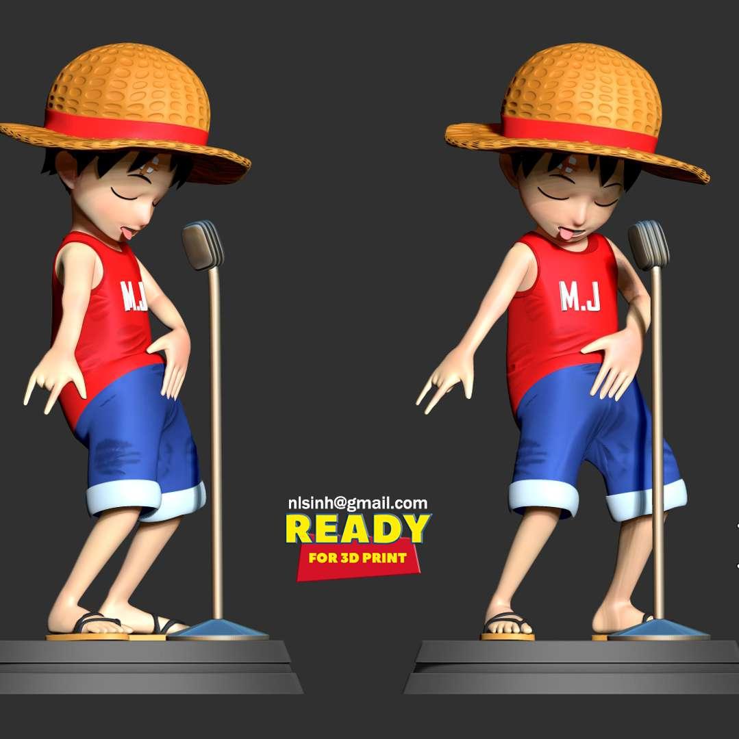 Kid Luffy  - I hope Michael Jackson's dance will satisfy One Piece fans.  When you purchase this model, you will own:  - STL file with 05 separated files (with key to connect together) is ready for 3D printing.  - Zbrush original files (ZTL) for you to customize as you like. (DM me if you want)  This is version 1.0 of this model.  Hope you like him. Thanks for viewing! - Os melhores arquivos para impressão 3D do mundo. Modelos stl divididos em partes para facilitar a impressão 3D. Todos os tipos de personagens, decoração, cosplay, próteses, peças. Qualidade na impressão 3D. Modelos 3D com preço acessível. Baixo custo. Compras coletivas de arquivos 3D.