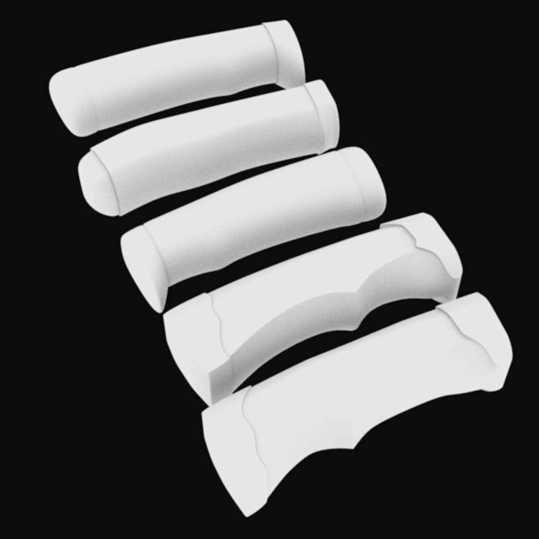 Knife handles STL for 3D printing - Knife handles STL  5 models for 3D printing - Los mejores archivos para impresión 3D del mundo. Modelos Stl divididos en partes para facilitar la impresión 3D. Todo tipo de personajes, decoración, cosplay, prótesis, piezas. Calidad en impresión 3D. Modelos 3D asequibles. Bajo costo. Compras colectivas de archivos 3D.