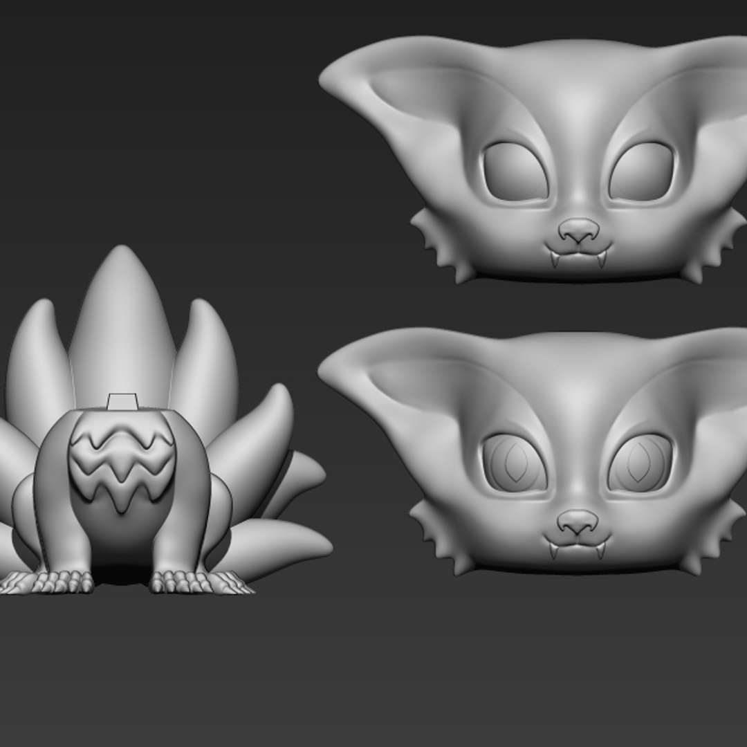 "Kyuubi/Kurama - Anime Naruto - This is the Kurama (the nine tails's fox) of the Naruto anime/manga I created this model based in funko style It has 11cm (4,3"") size (as it is a peculiar style, the model is out of scale)  The model has 3 parts: 1 - body 2 - head 3 - extra head (with eye markings for painting)   I hope you like :) Thanks! - Los mejores archivos para impresión 3D del mundo. Modelos Stl divididos en partes para facilitar la impresión 3D. Todo tipo de personajes, decoración, cosplay, prótesis, piezas. Calidad en impresión 3D. Modelos 3D asequibles. Bajo costo. Compras colectivas de archivos 3D."
