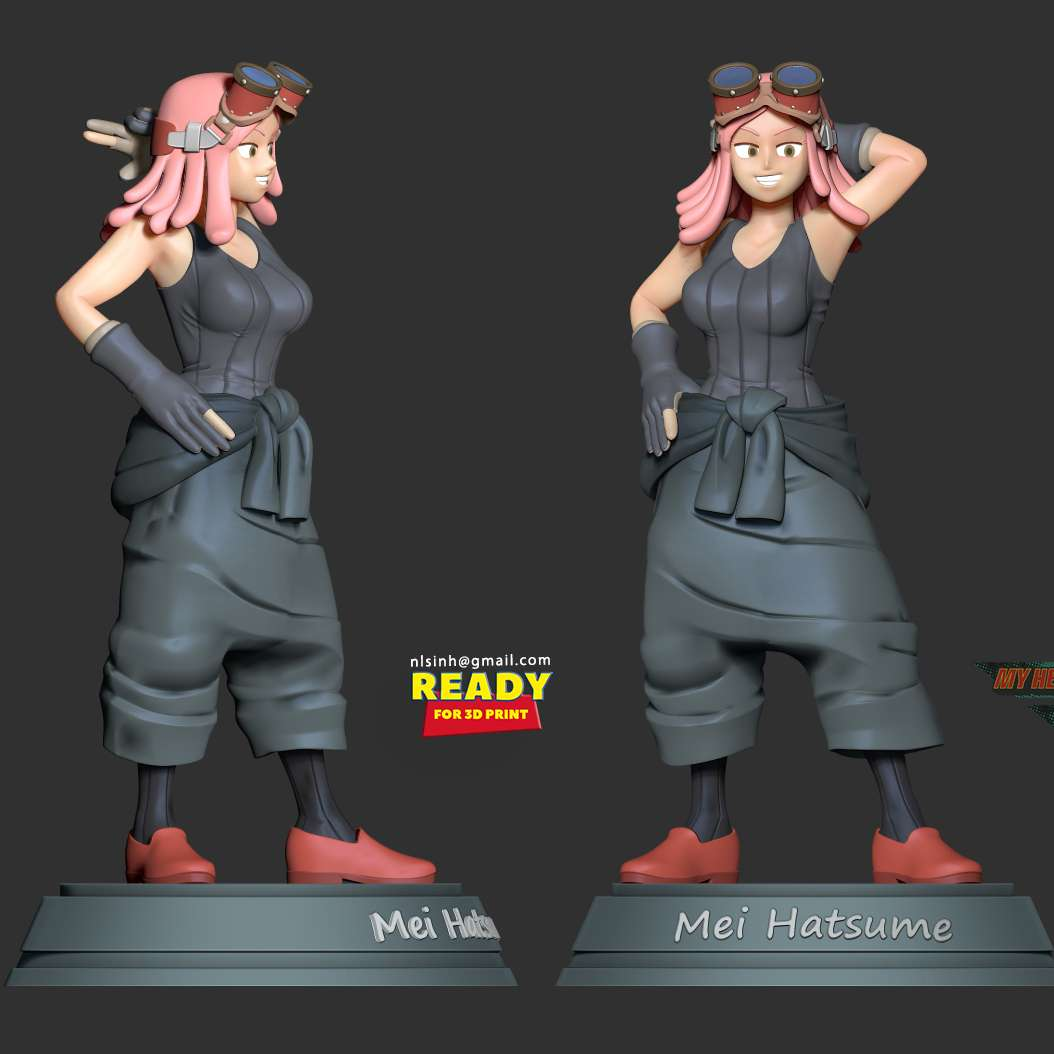 Mei Hatsume - Mei Hatsume (発はつ目め明めい Hatsume Mei?) is a student of U.A. High School's Department of Support from Class 1-H.  When you purchase this model, you will own:  - STL, OBJ file with 10 separated files (with key to connect together) is ready for 3D printing.  - Zbrush original files (ZTL) for you to customize as you like.  **This is version 1.0 of this model.**  Hope you like her. Thanks for viewing! - Los mejores archivos para impresión 3D del mundo. Modelos Stl divididos en partes para facilitar la impresión 3D. Todo tipo de personajes, decoración, cosplay, prótesis, piezas. Calidad en impresión 3D. Modelos 3D asequibles. Bajo costo. Compras colectivas de archivos 3D.