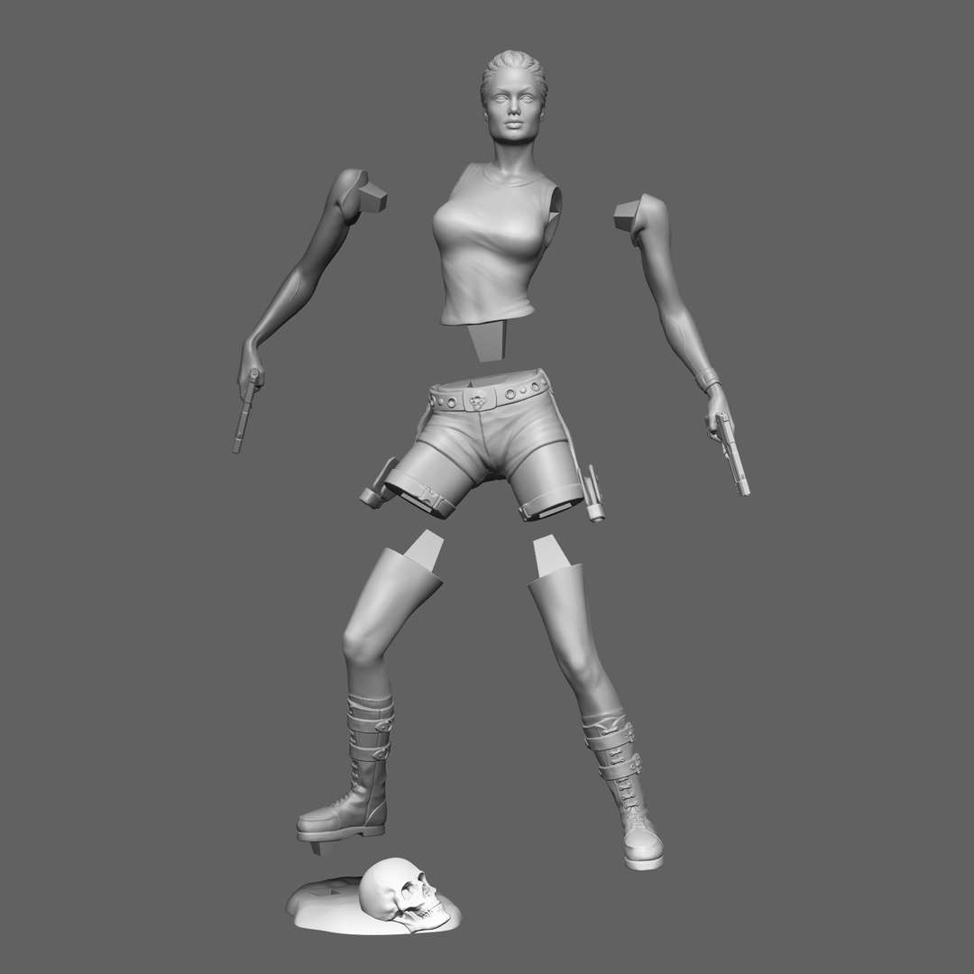 Lara Croft STL - Lara Croft (Tomb Raider) The figure is 15 cm tall. The model is split into 7 parts. (stl) Model and files are for personal use only, no commercial use is allowed, nor files can be sold to third party. - The best files for 3D printing in the world. Stl models divided into parts to facilitate 3D printing. All kinds of characters, decoration, cosplay, prosthetics, pieces. Quality in 3D printing. Affordable 3D models. Low cost. Collective purchases of 3D files.