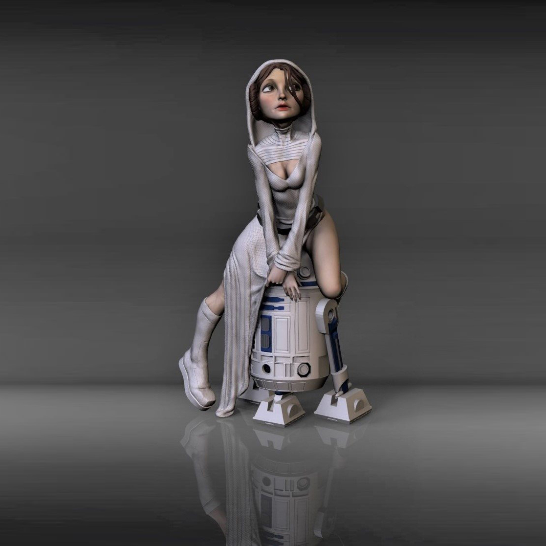 Star Wars R2-D2 with sexy Leia princess - Star Wars Princess Leia sexy and stylized, sitting in R2D2, based on Brett Nienburg's concept art - The best files for 3D printing in the world. Stl models divided into parts to facilitate 3D printing. All kinds of characters, decoration, cosplay, prosthetics, pieces. Quality in 3D printing. Affordable 3D models. Low cost. Collective purchases of 3D files.