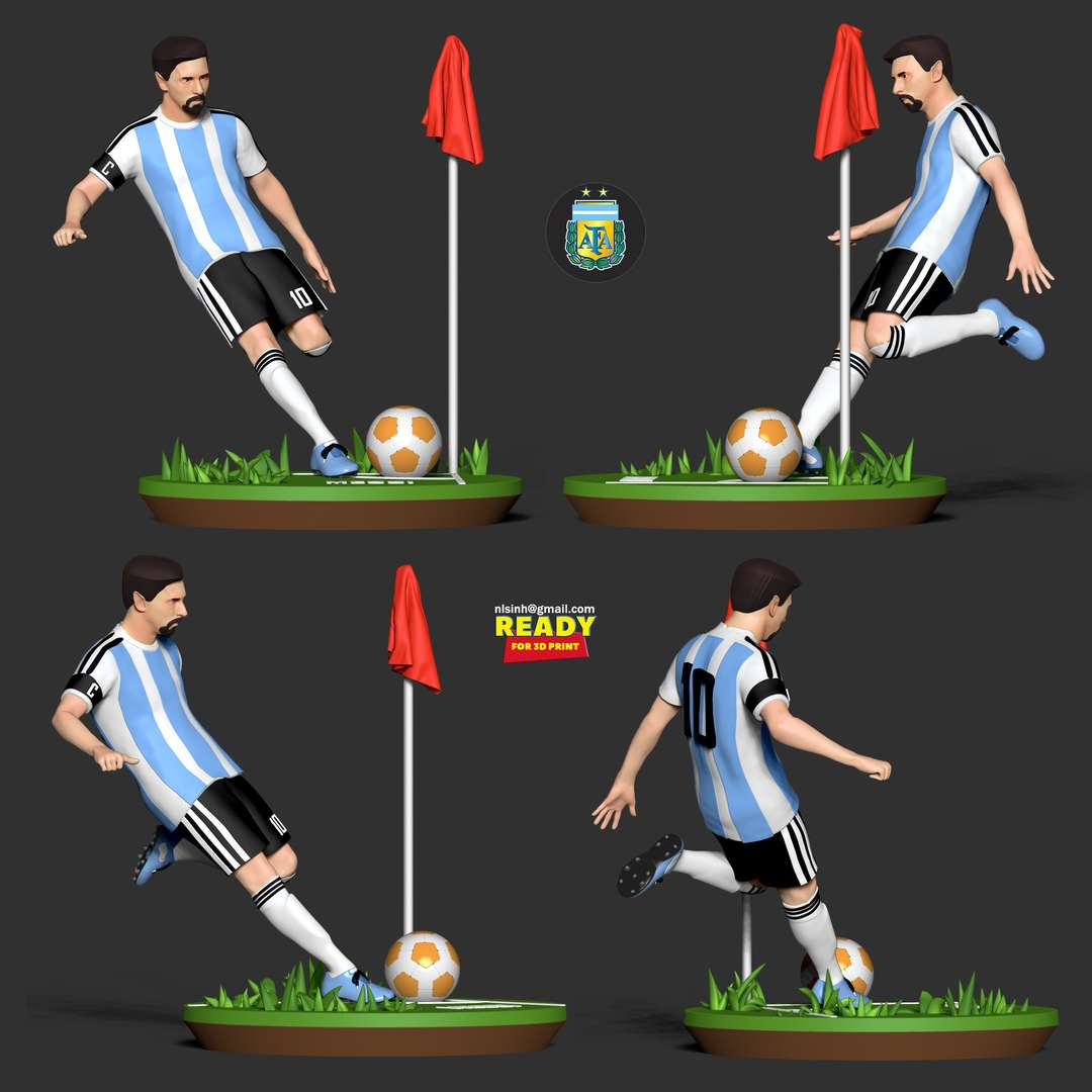 Lionel Messi - Lionel Messi is a football genius, but I think he needs to have the World Cup to be the greatest in the history of football.  When purchasing this model, you will own:  - STL, OBJ file with 06 separated files (with key to connect together) is ready for 3D printing.  - Original files of Zbrush ZTL for easy editing to suit your requirements  Don't be shy, ask me questions if you have any questions.  Hope you like him. Thanks for viewing! - Os melhores arquivos para impressão 3D do mundo. Modelos stl divididos em partes para facilitar a impressão 3D. Todos os tipos de personagens, decoração, cosplay, próteses, peças. Qualidade na impressão 3D. Modelos 3D com preço acessível. Baixo custo. Compras coletivas de arquivos 3D.