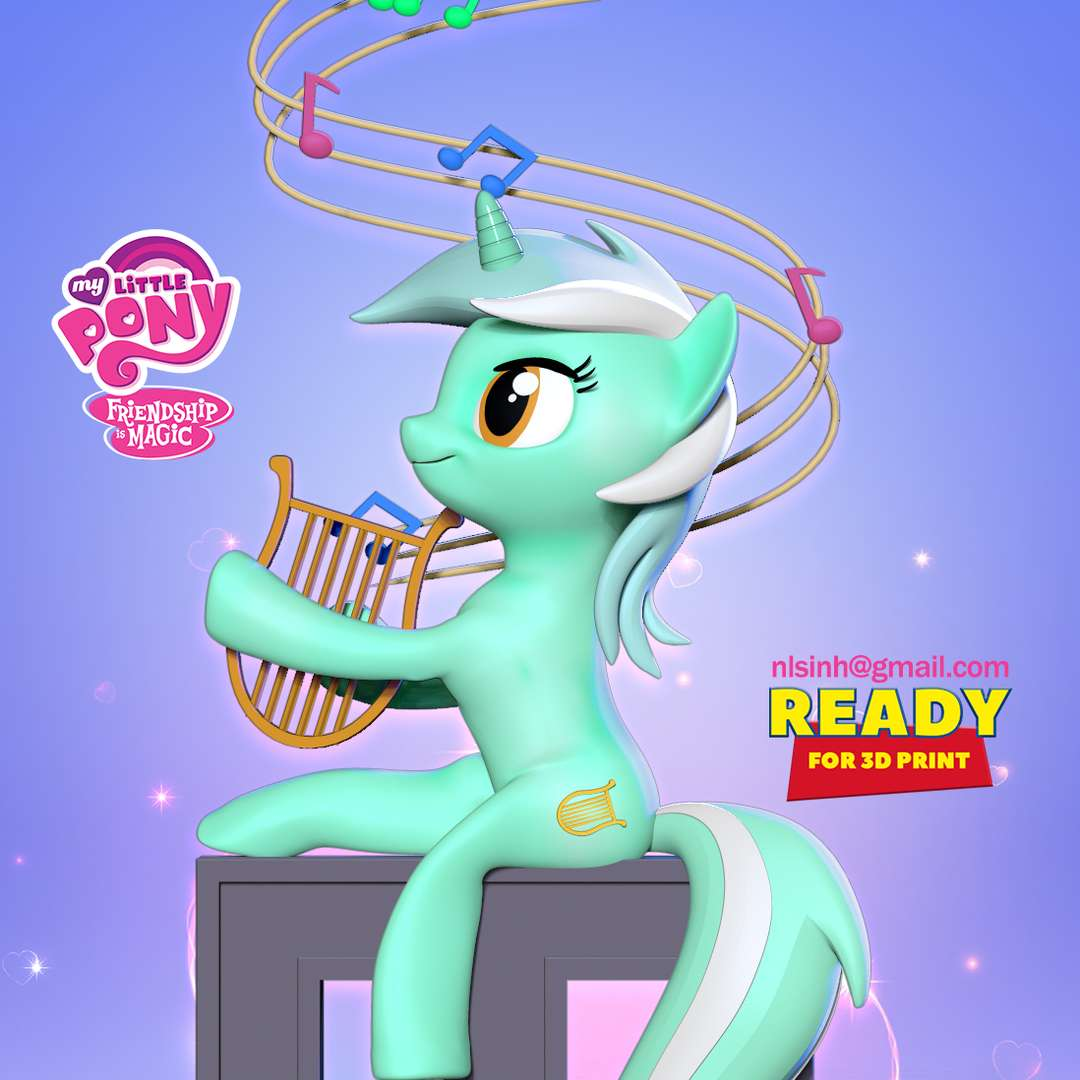Lyra Heartstrings - My Little Pony  - Lyra is a mint-green background pony with a lyre for a cutie mark.  When you purhase this model, you will own:  - STL, OBJ file with 02 separated files (with key to connect together) is ready for 3D printing.  - Zbrush original files (ZTL) for you to customize as you like.  This is version 1.0 of this model.  Hope you like her. Thanks for viewing! - The best files for 3D printing in the world. Stl models divided into parts to facilitate 3D printing. All kinds of characters, decoration, cosplay, prosthetics, pieces. Quality in 3D printing. Affordable 3D models. Low cost. Collective purchases of 3D files.