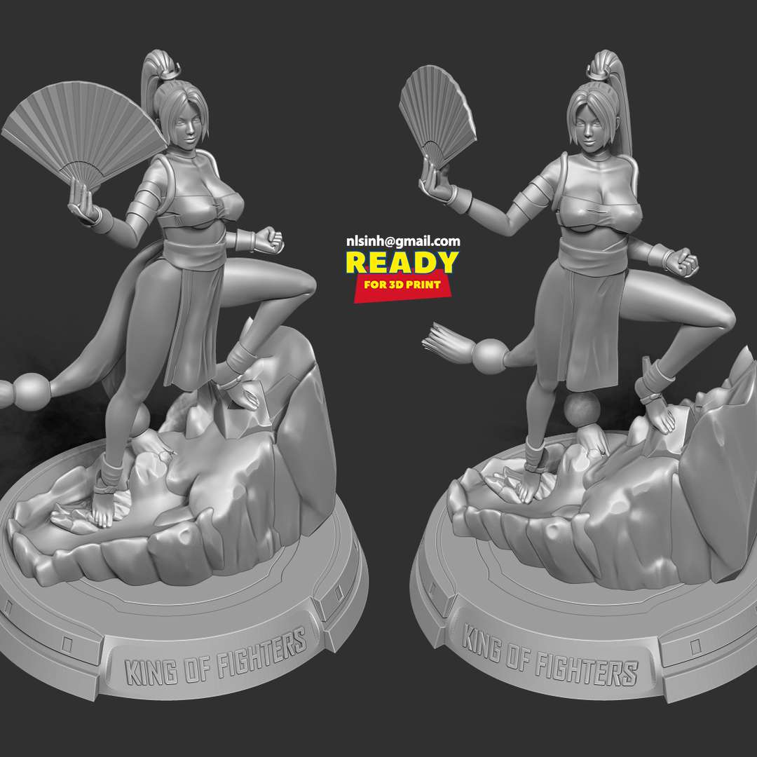 Mai Shiranui Fanart - Mai Shiranui is a fictional character in the Fatal Fury and The King of Fighters series of fighting games by SNK.  When you purchase this model, you will own:  - STL, OBJ file with 07 separated files (with key to connect together) is ready for 3D printing.  - Zbrush original files (ZTL) for you to customize as you like.  This is version 1.0 of this model.  Thanks for viewing! - The best files for 3D printing in the world. Stl models divided into parts to facilitate 3D printing. All kinds of characters, decoration, cosplay, prosthetics, pieces. Quality in 3D printing. Affordable 3D models. Low cost. Collective purchases of 3D files.