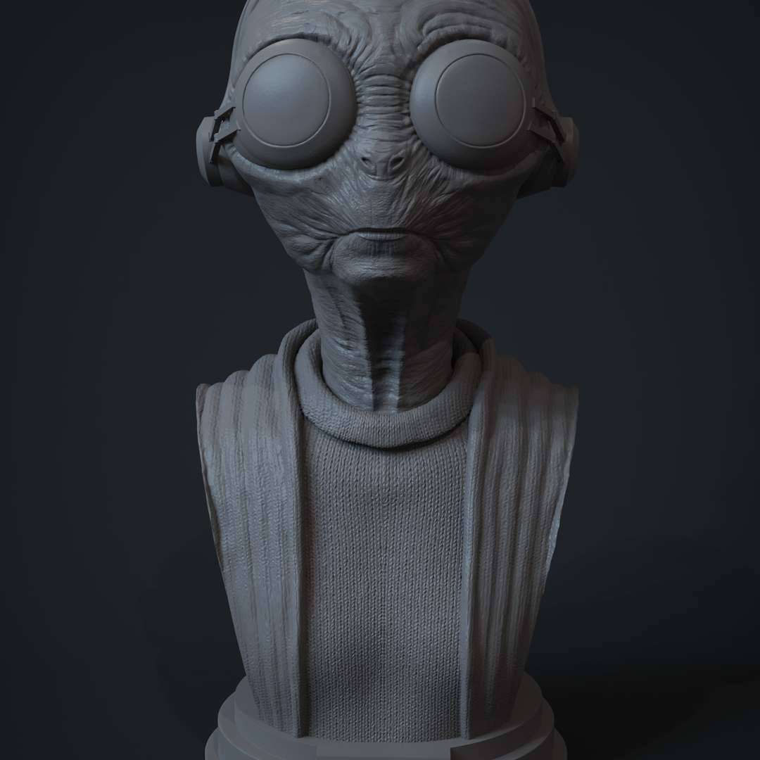 Maz Kanata - Star Wars - For personal (non-commercial) use only. This model or parts of it CANNOT be sold, shared or distributed in digital, physical, original or modified format.  Bust / portrait (fan art) for 3D printing of the character Maz Kanata from the movie: Star Wars  File units: mm (millimeters) file format: STL  Height (Z): 48 mm with base width (X): 45 mm deep (Y): 100mm  Size: 10cm  This bust / portrait has a very high level of detail and if you have a 3D printer that can reproduce these details, you will see all of these details in your 3D printing, including the skin pores. But even if your 3D printer cannot print that level of detail, you will still get as much detail as your 3D printer can produce.  Model is separated into 6 STL's files: Head with the lens of the glasses Head without the lens of the glasses Body Base Character without cuts and with the lens of the glasses Character without cuts and without the lens of the glasses  The character is posted on my instagram: https://www.instagram.com/artmaykn/  Thanks! - Os melhores arquivos para impressão 3D do mundo. Modelos stl divididos em partes para facilitar a impressão 3D. Todos os tipos de personagens, decoração, cosplay, próteses, peças. Qualidade na impressão 3D. Modelos 3D com preço acessível. Baixo custo. Compras coletivas de arquivos 3D.