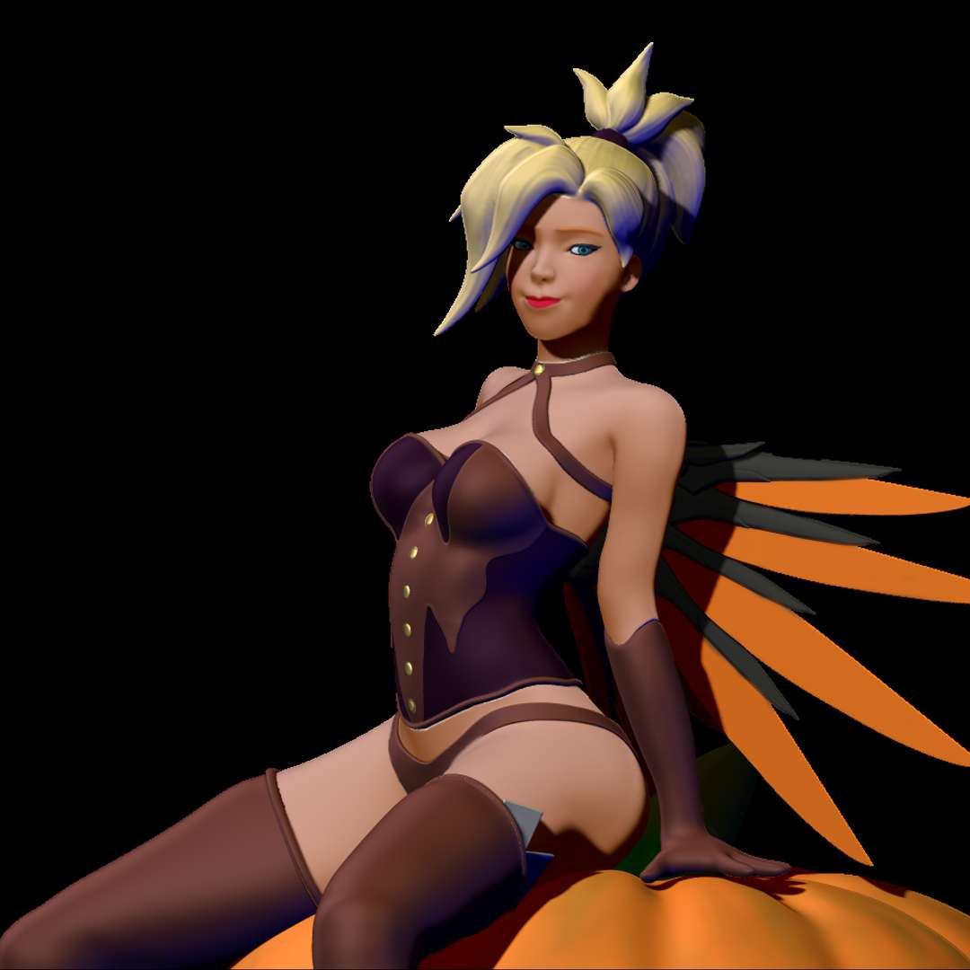 Mercy Halloween (Overwatch) - Mercy model in her Halloween outfit, inspired by the art of Kittew / Sciamano Also check out the full version with D.Va - The best files for 3D printing in the world. Stl models divided into parts to facilitate 3D printing. All kinds of characters, decoration, cosplay, prosthetics, pieces. Quality in 3D printing. Affordable 3D models. Low cost. Collective purchases of 3D files.