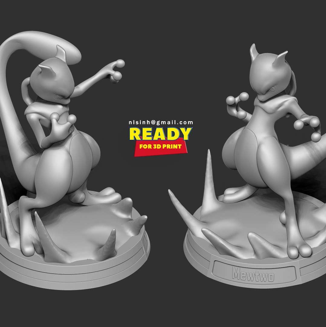 Mewtwo - Pokemon Fanart  - Mewtwo is a fictional creature known as a Pokémon from Nintendo and Game Freak.  When you purchase this model, you will own:  - STL, OBJ file with 02 separated files (with key to connect together) is ready for 3D printing.  - Zbrush original files (ZTL) for you to customize as you like.  This is version 1.0 of this model.  Hope you like him. Thanks for viewing! - Los mejores archivos para impresión 3D del mundo. Modelos Stl divididos en partes para facilitar la impresión 3D. Todo tipo de personajes, decoración, cosplay, prótesis, piezas. Calidad en impresión 3D. Modelos 3D asequibles. Bajo costo. Compras colectivas de archivos 3D.