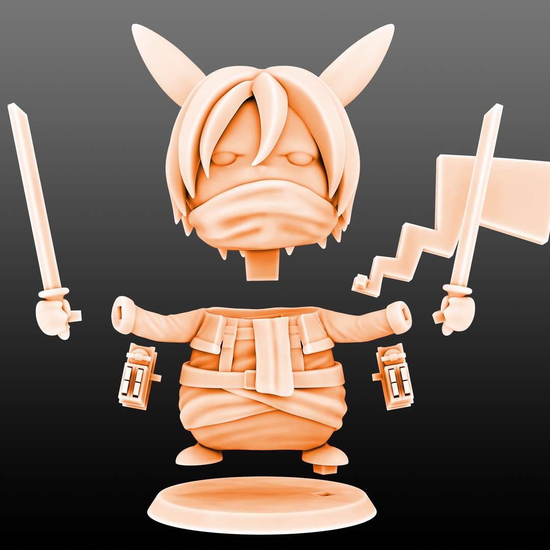 Mikachu Pikachu Mikasa Cosplay - Pikachu Mikasa Cosplay File ready for printing 08 STL files ready for printing Model cut and prepared with plug-in pins for printing  I'm a 3D artist for a few years, graduated in game designer, venturing into this area of collectibles that became my passion, I hope you like the models, and if you have any questions or suggestions, just get in touch with me. - Los mejores archivos para impresión 3D del mundo. Modelos Stl divididos en partes para facilitar la impresión 3D. Todo tipo de personajes, decoración, cosplay, prótesis, piezas. Calidad en impresión 3D. Modelos 3D asequibles. Bajo costo. Compras colectivas de archivos 3D.