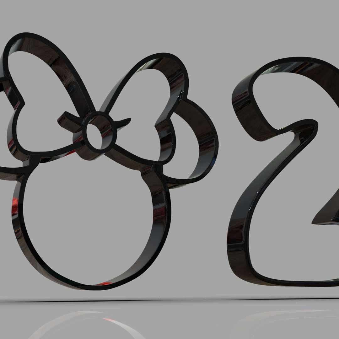 Minnie and Number 2 Cookie Cutter - Minnie Mouse and a number 2 Cookie cutter ready for 3D Print I included the OBJ and STL files if you need 3D Game Assets or STL Files I can do commission works.   - The best files for 3D printing in the world. Stl models divided into parts to facilitate 3D printing. All kinds of characters, decoration, cosplay, prosthetics, pieces. Quality in 3D printing. Affordable 3D models. Low cost. Collective purchases of 3D files.